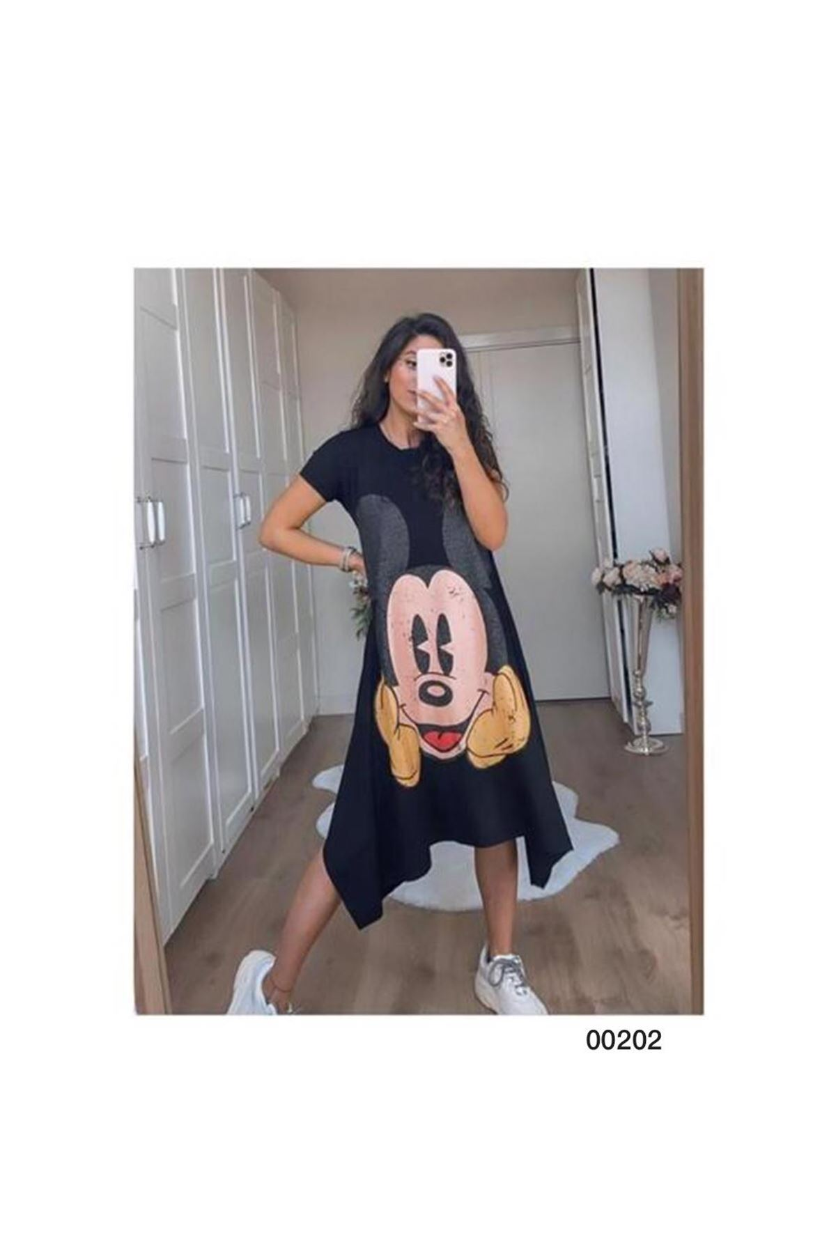 Mickey Baskılı Asimetrik Spor Elbise - Siyah