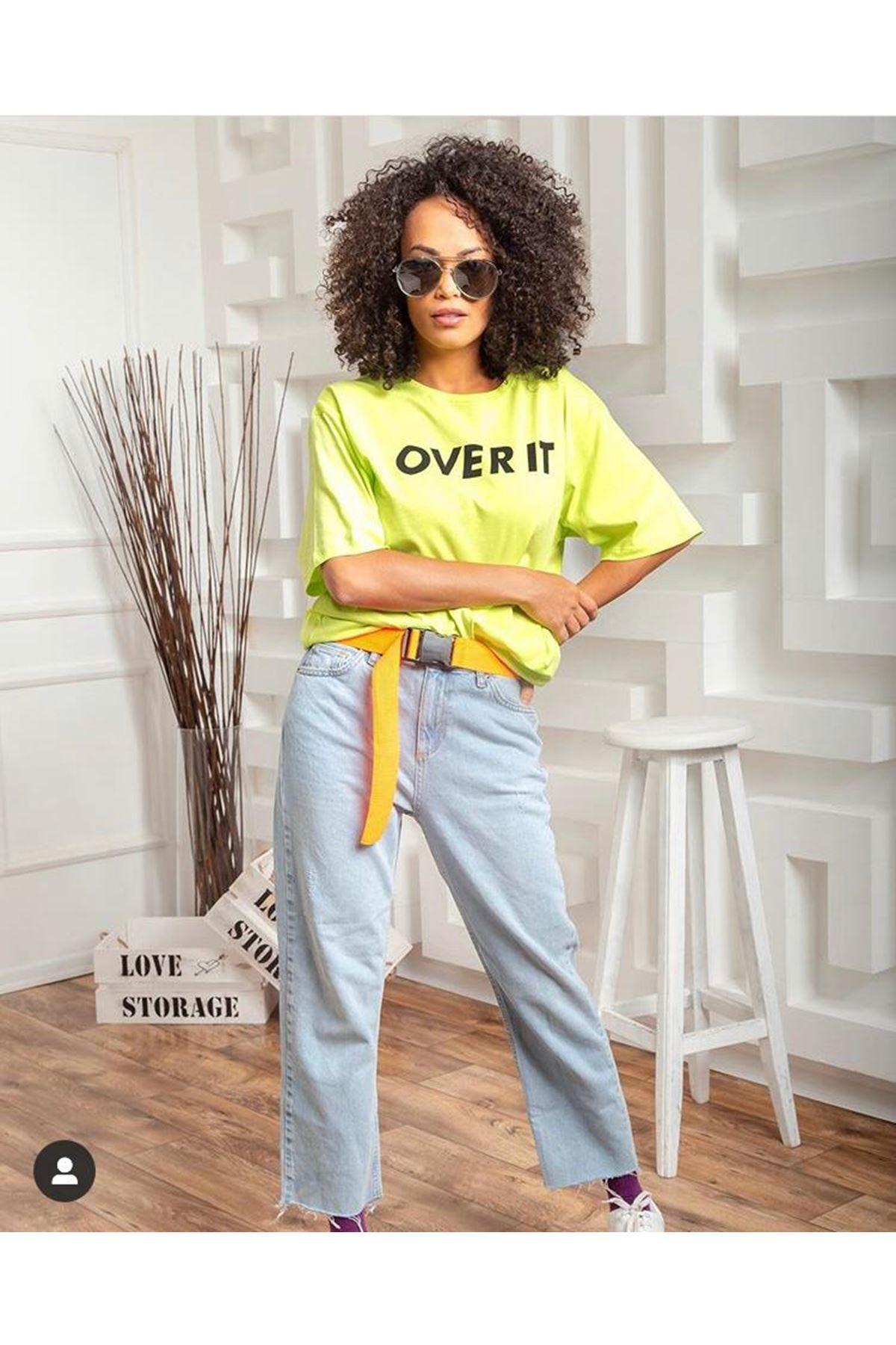 Over It Baskı Tshirt - YEŞİL