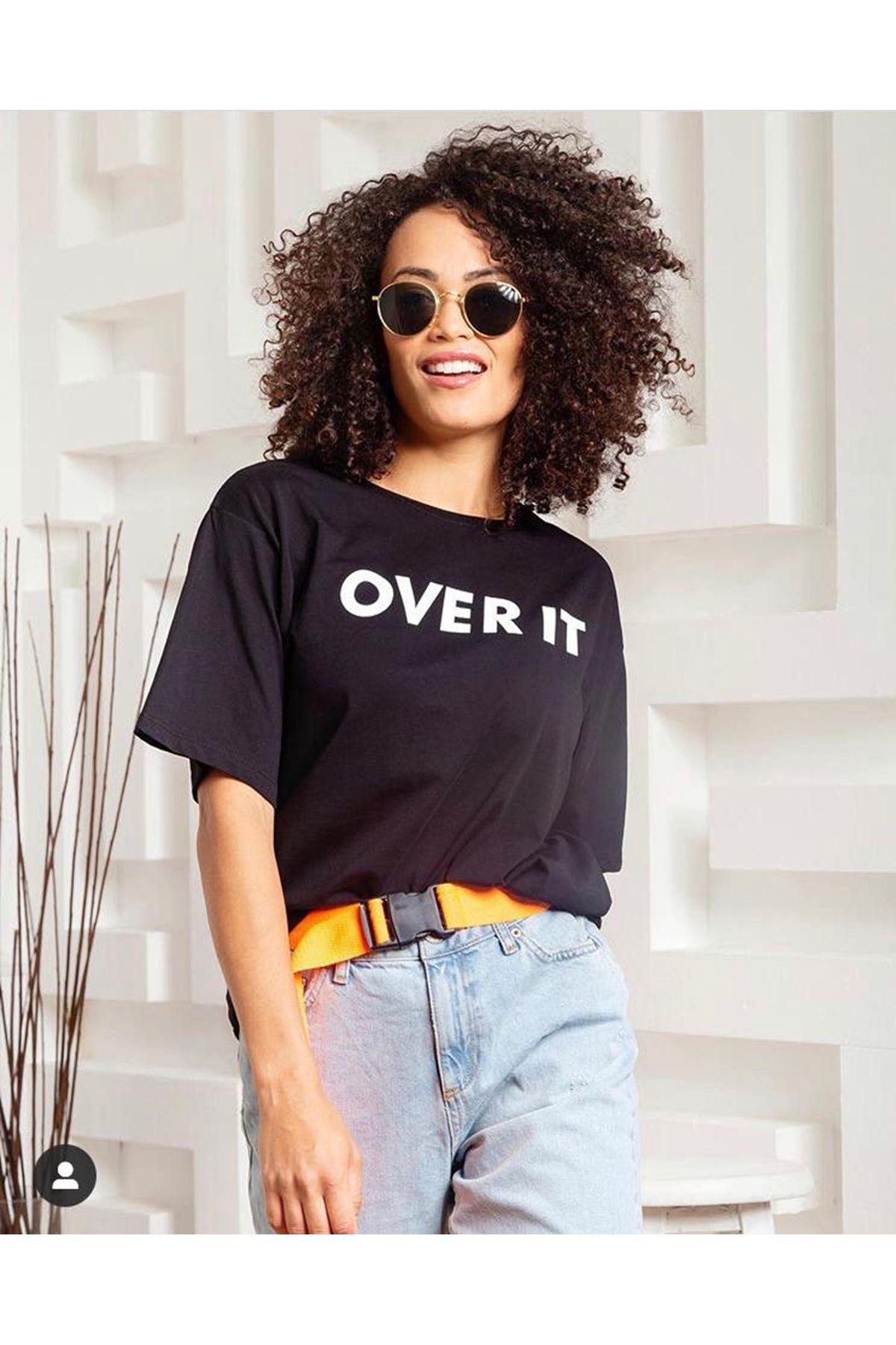 Over It Baskı Tshirt - SİYAH