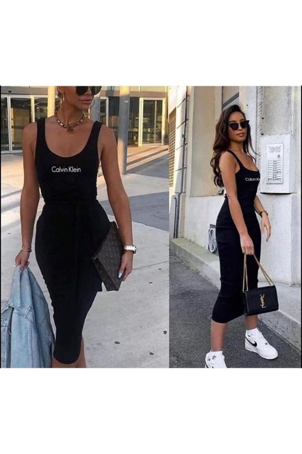 Calvin Klein Askılı elbise - SİYAH