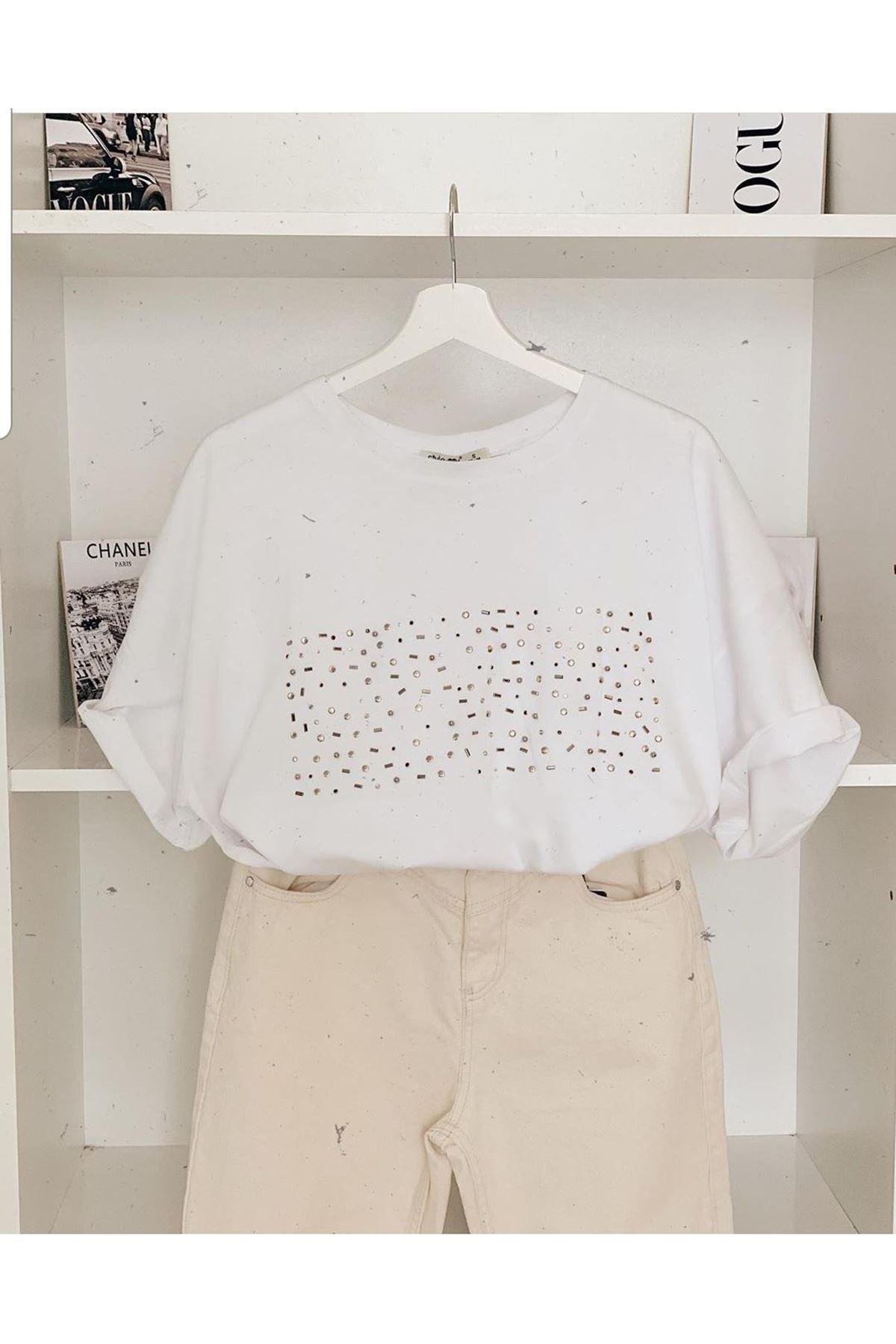 Taşlı T-shirt - BEYAZ