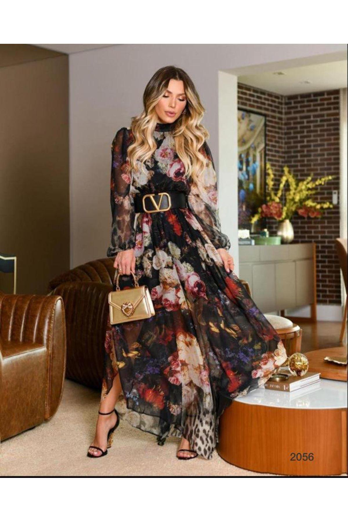 New Season Çiçek Desen Elbise - SİYAH