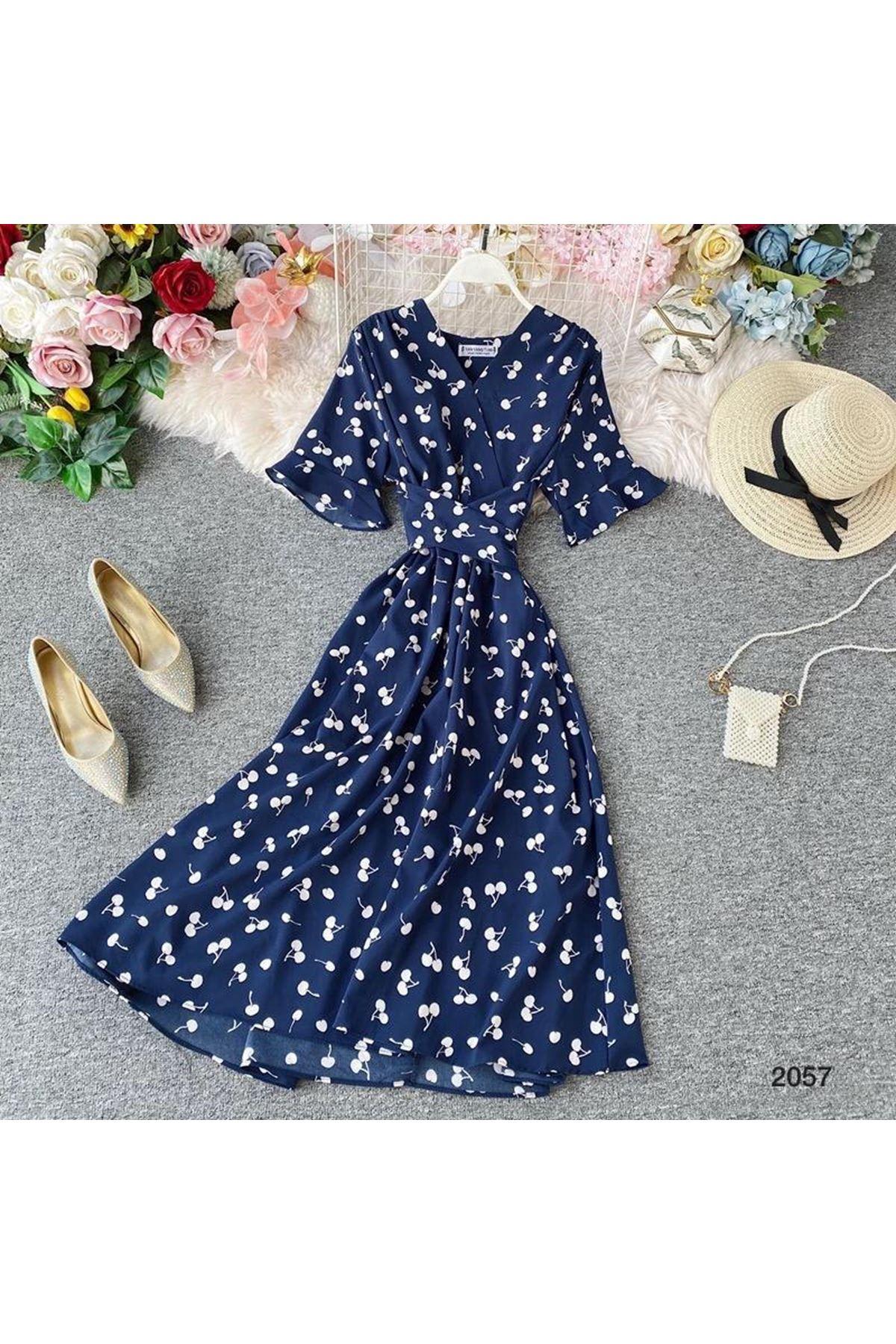 Çiçek Desen 3 Renk Elbise - LACİ