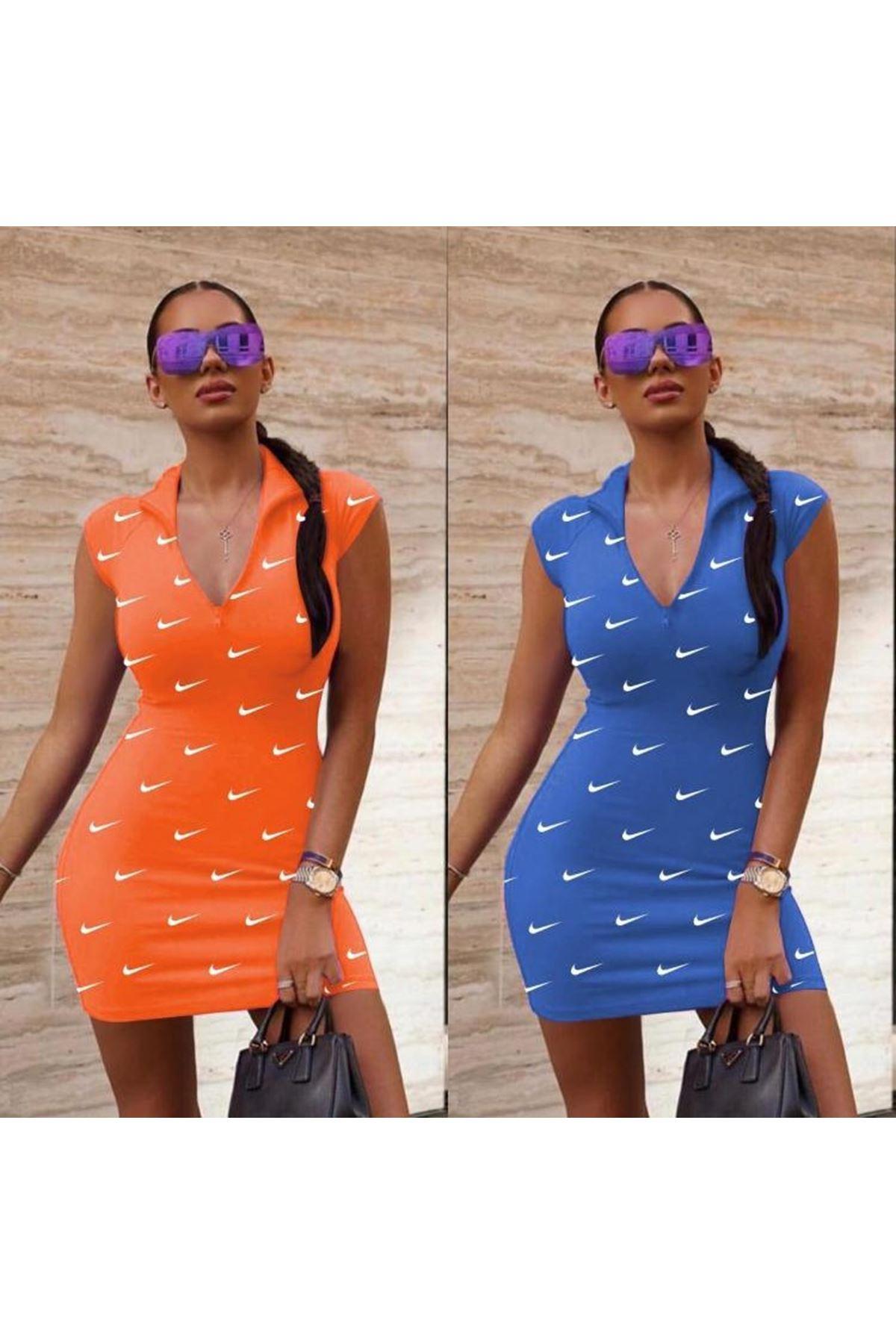 Önü Fermuarlı Nıke Elbise - Mavi