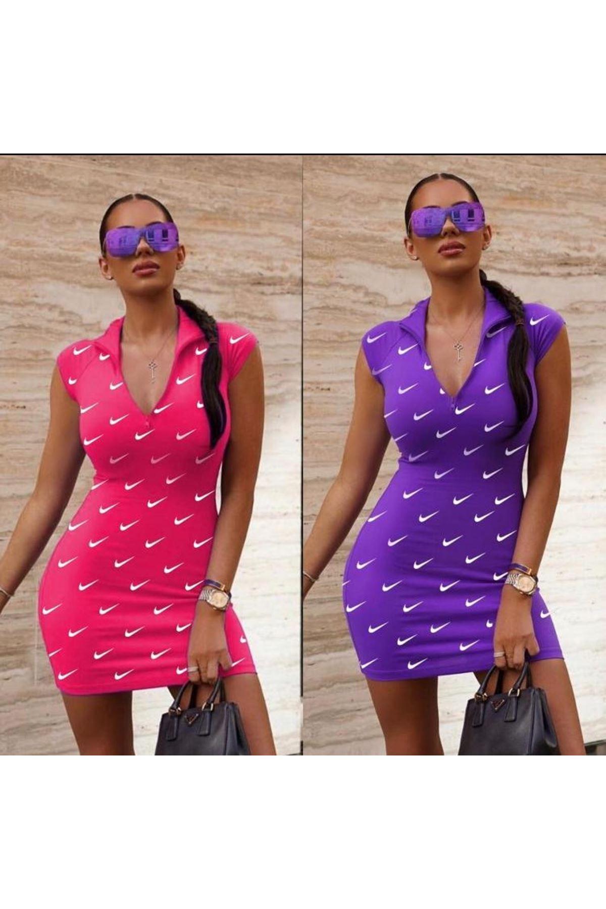 Önü Fermuarlı Nıke Elbise - Pembe
