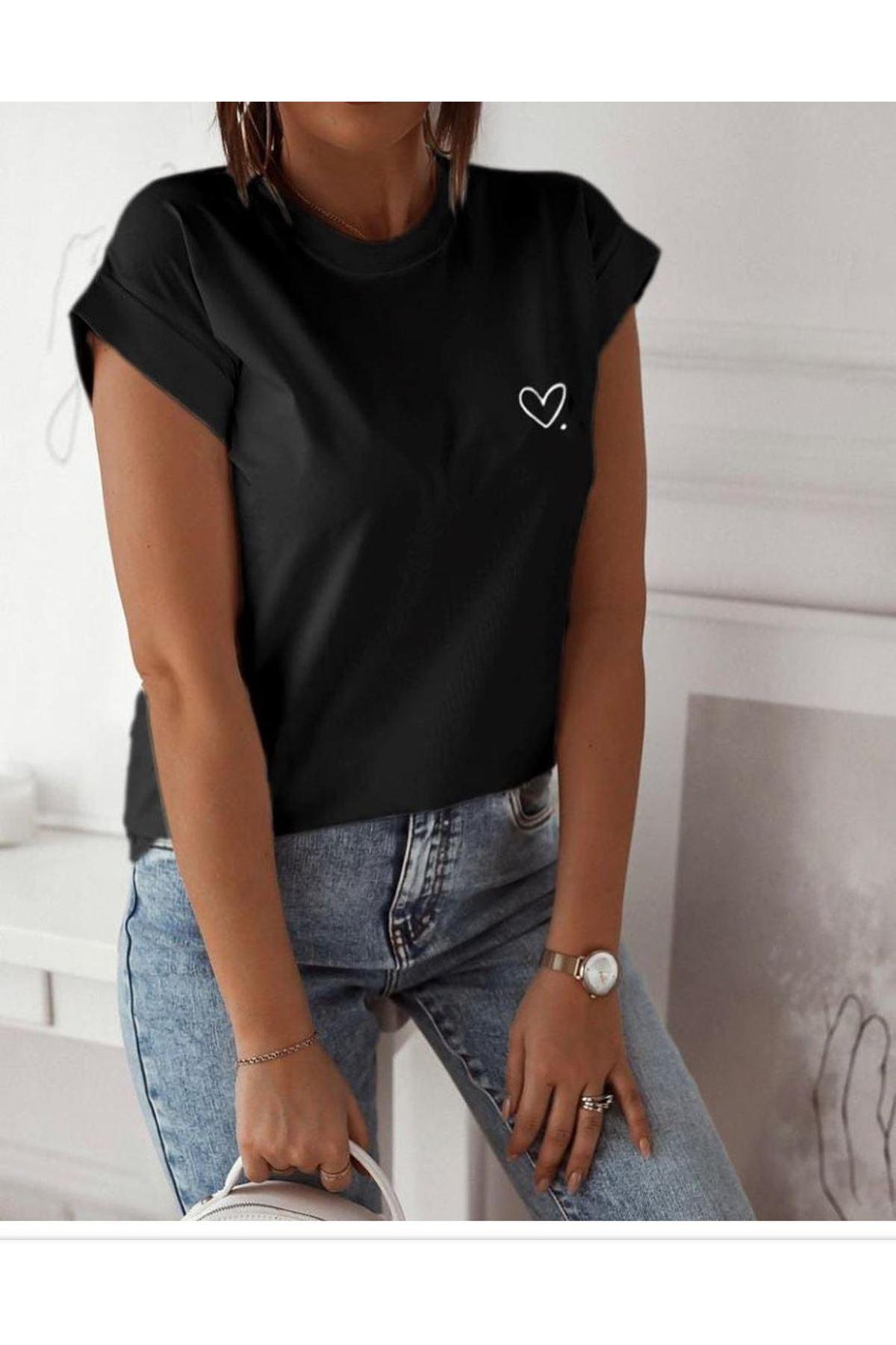 Zara model kalpli t-shirt - Siyah
