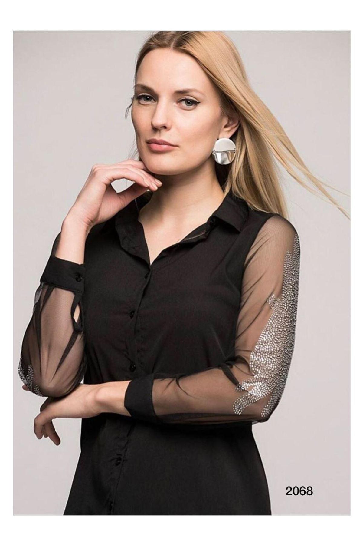 Kolları Organze Tasarım Gömlek - siyah