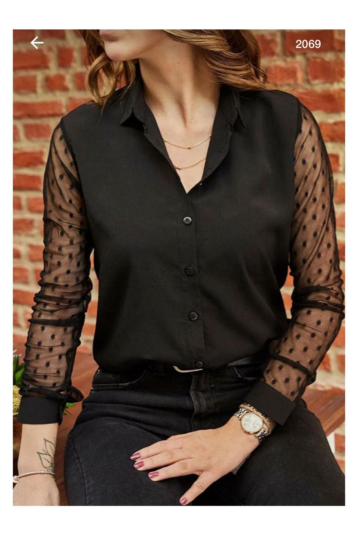 Kolları Tül Puanlı Gömlek - siyah