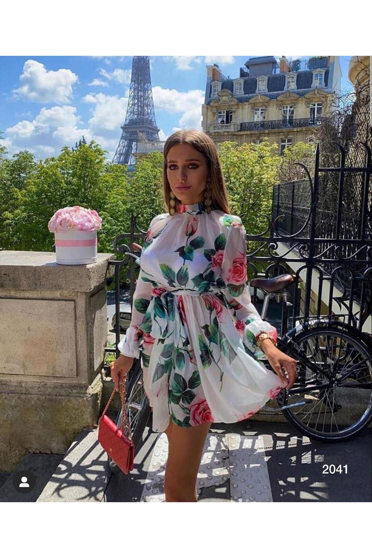 Çiçek Desenli Mini Şifon Elbise - Beyaz