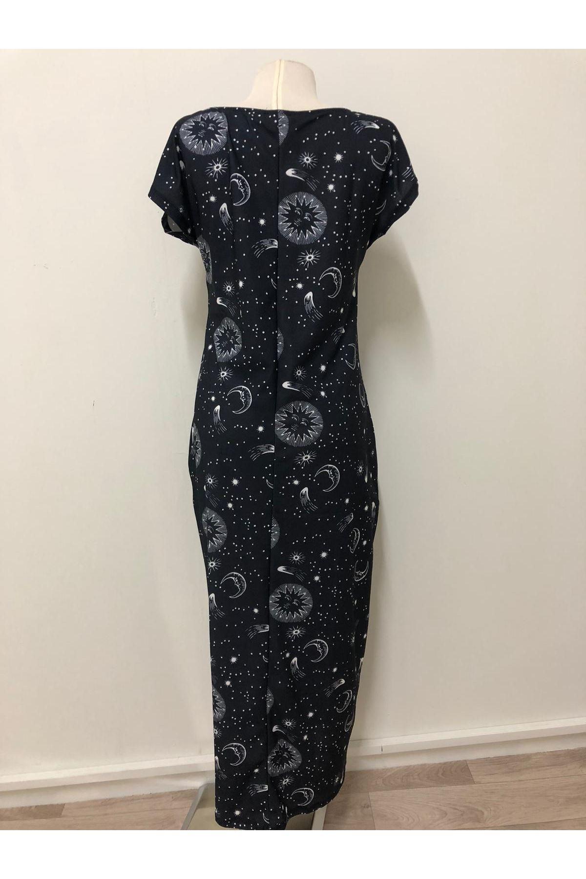 Uzay Desenli Cepli Salaş Elbise - siyah