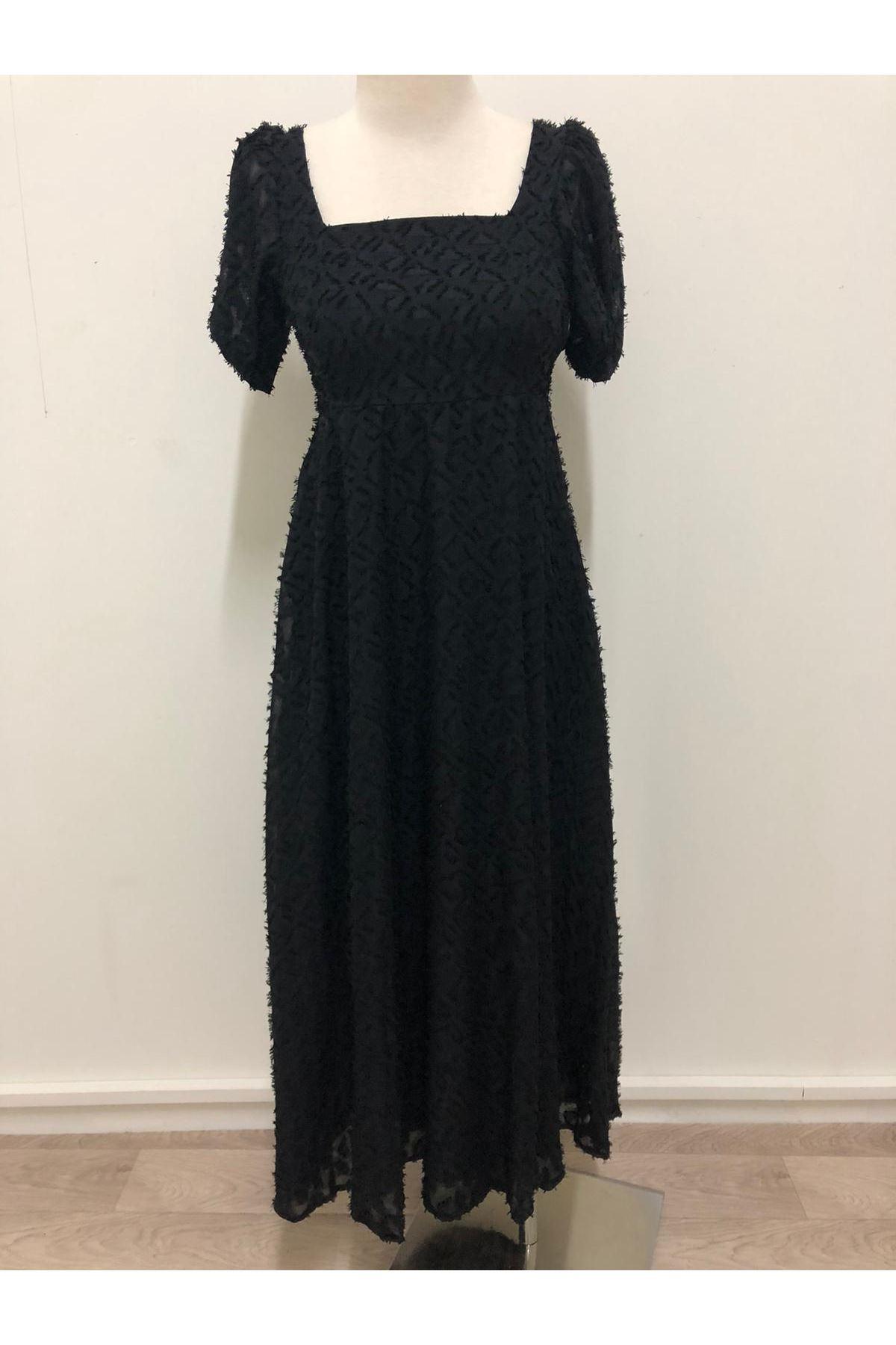 Kare Yakalı 2 renk Midiboy Elbise - SİYAH
