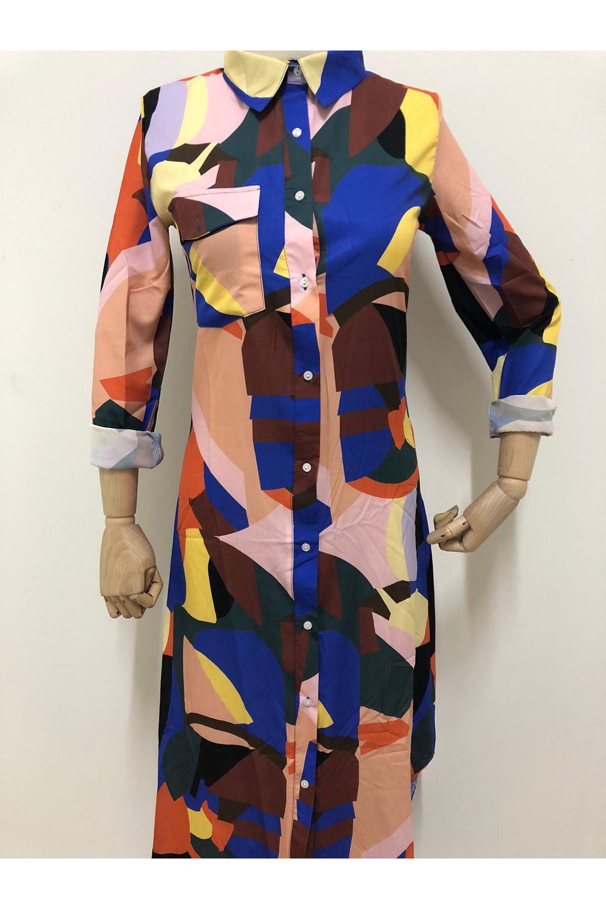 Renk Desen Tasarım Gömlek Elbise - Multi