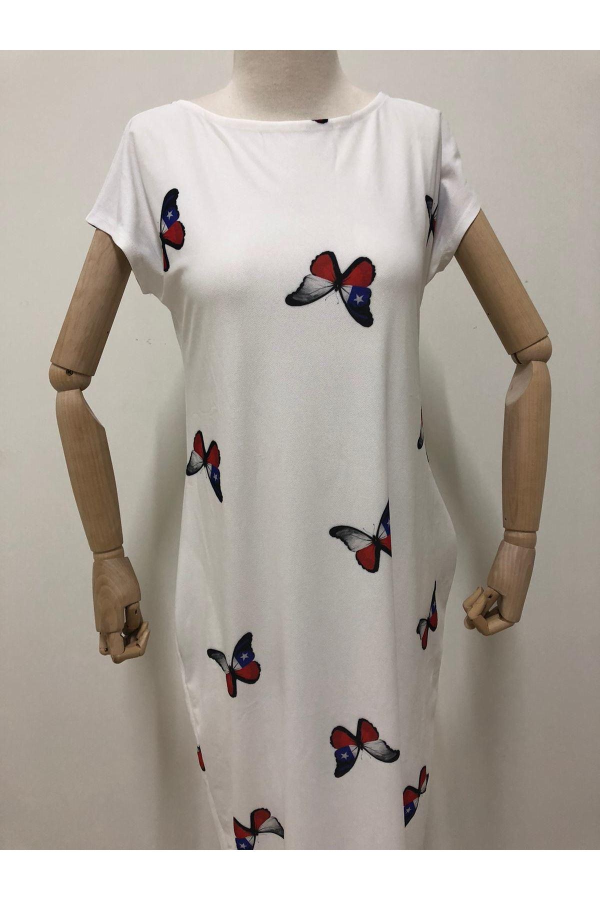 Kelebek Desenli Cepli Salaş Elbise - BEYAZ