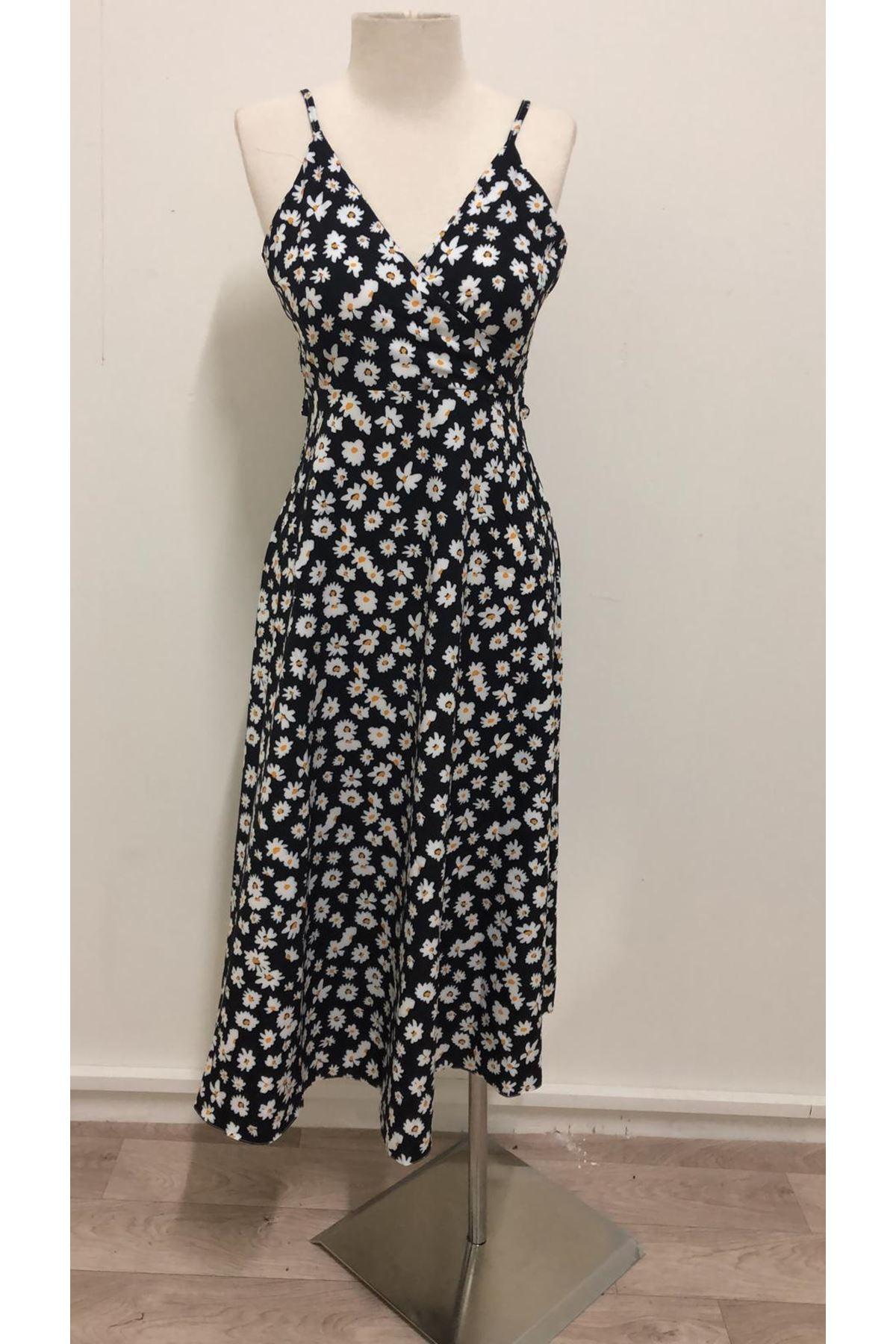 Çıtır Desen Sırt Tasarım Elbise - siyah