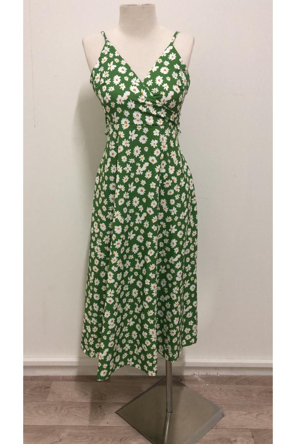 Çıtır Desen Sırt Tasarım Elbise - yeşil