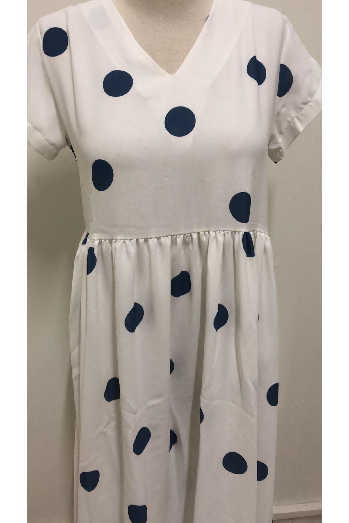 Puanlı Rahat Elbise - Beyaz