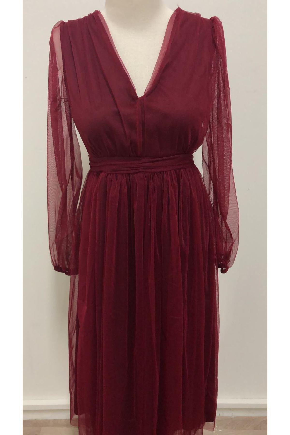 V Yaka Organze Tasarım Elbise - BORDO