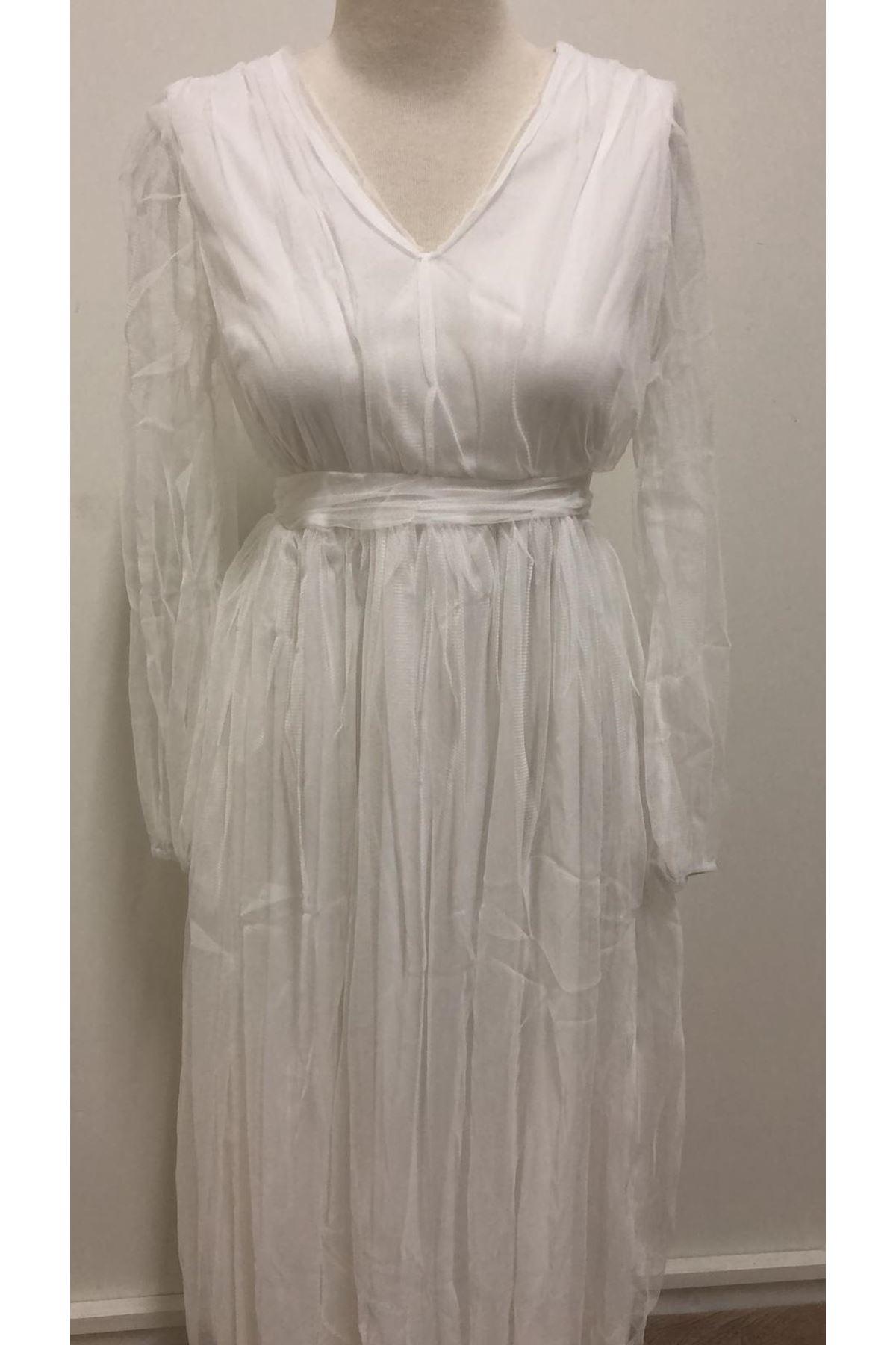 V Yaka Organze Tasarım Elbise - BEYAZ