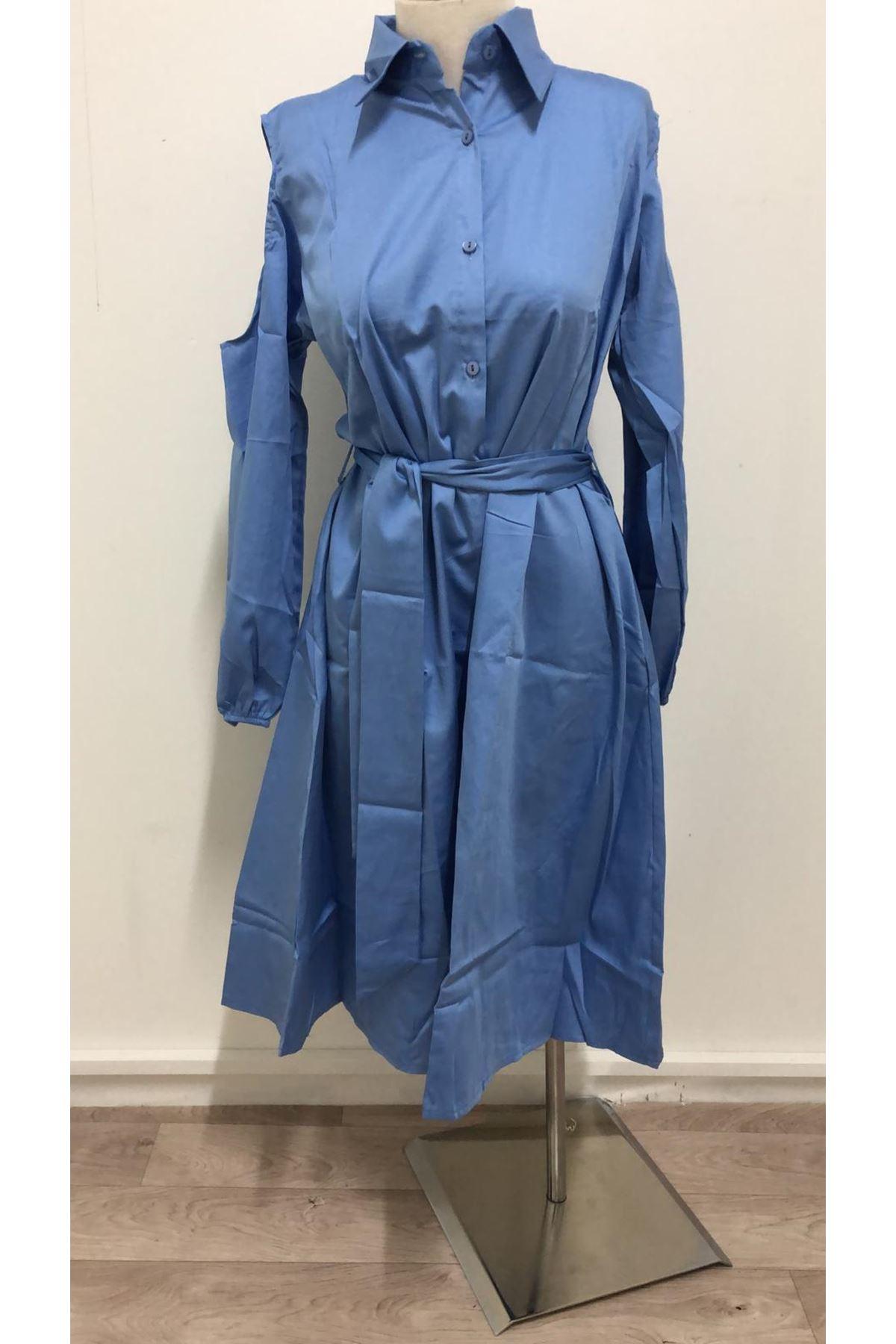 Bel Kuşak Omuz Detaylı Elbise - Mavi