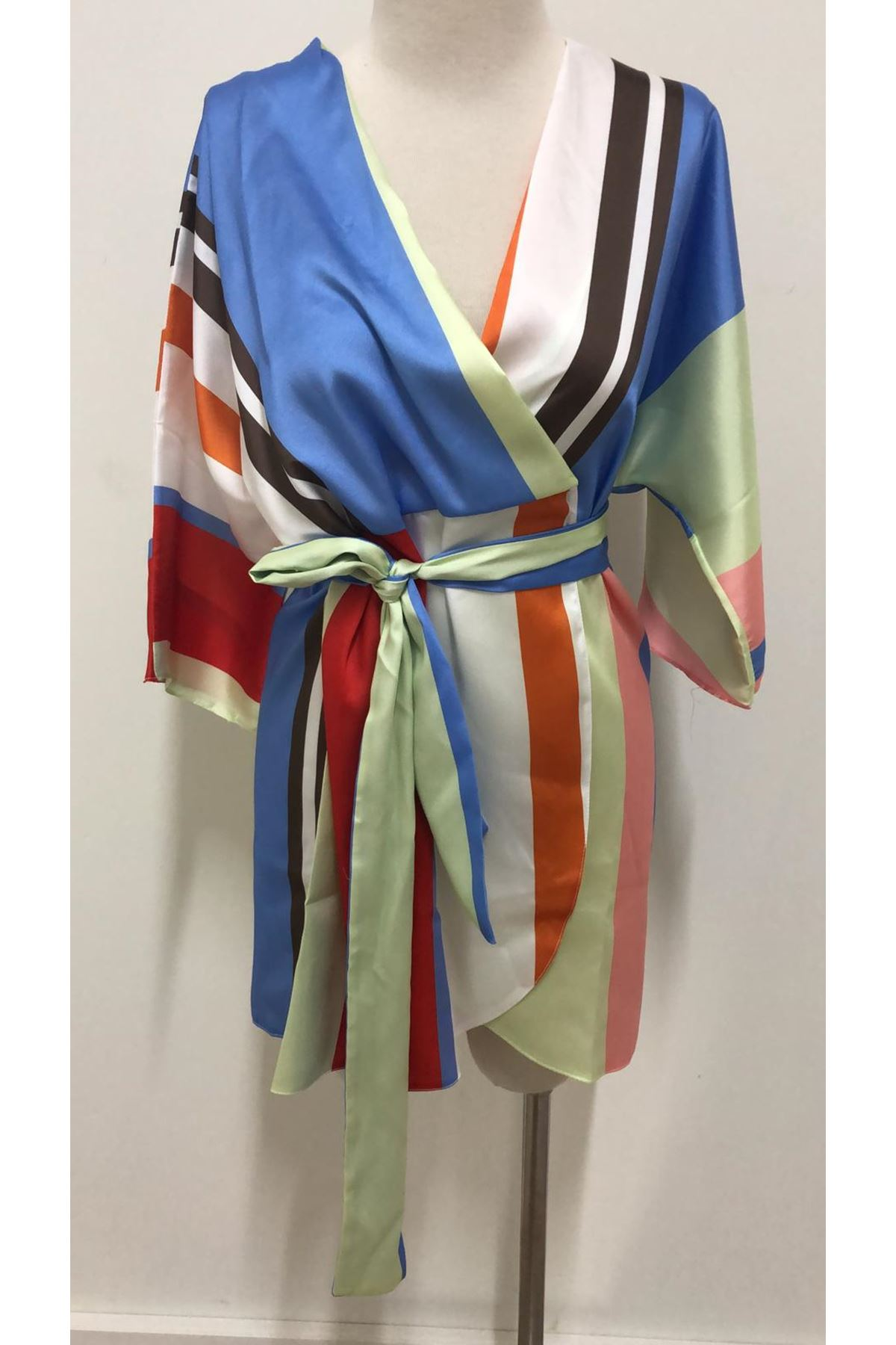 Kuşaklı Kimono Elbise - multi