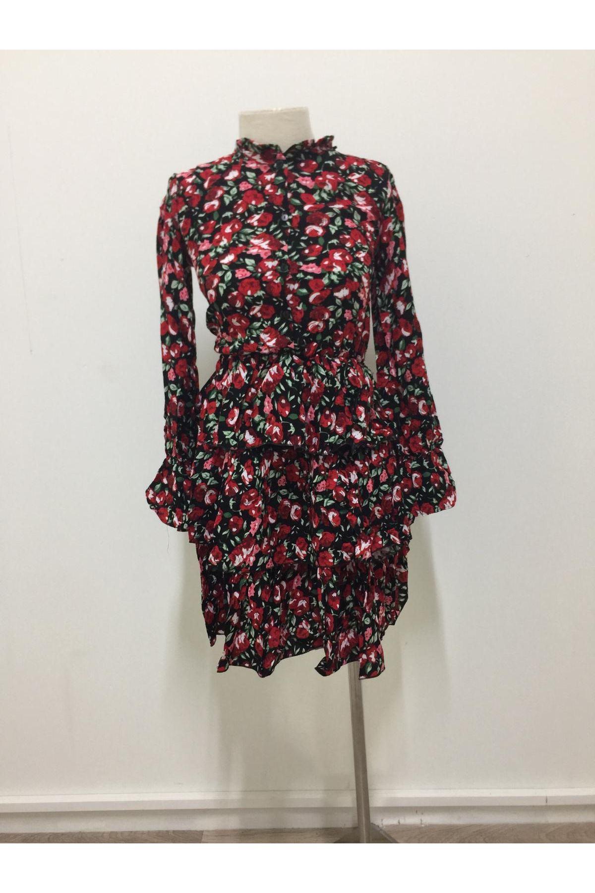 Eteği Katkat Mini Çiçek Elbise - kırmızı