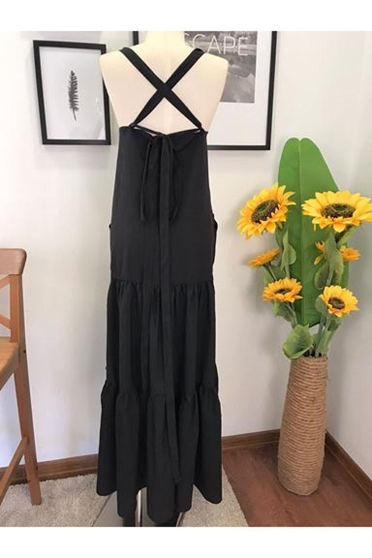 Omuz Detay Cepli Maxi Elbise - Siyah
