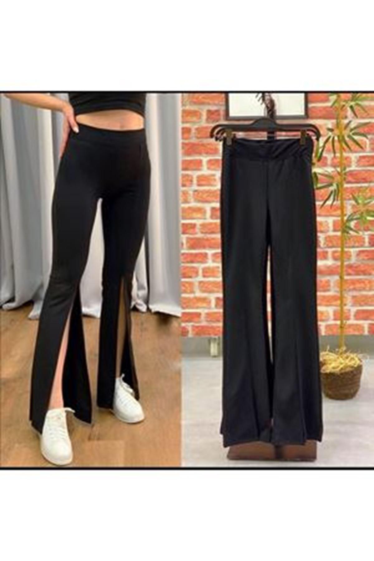 Paça Yırtmaç Toparlayıcı Pantolon - Siyah