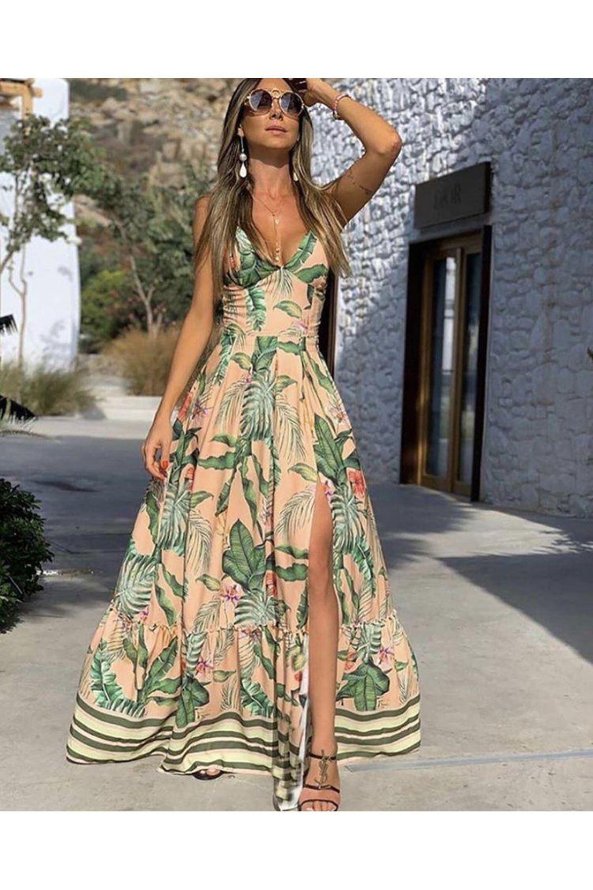 Yaprak Desen Yırtmaçlı Tasarım Elbise MULTİ