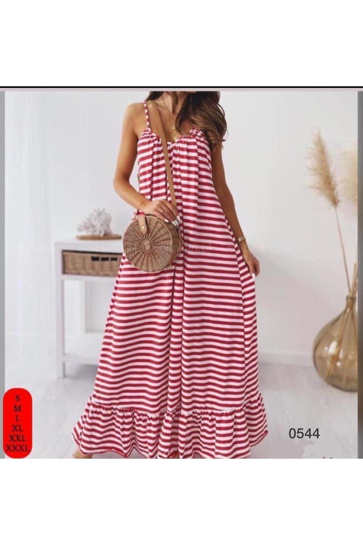 Yeni Sezon ip askılı Salaş elbise - KIRMIZI