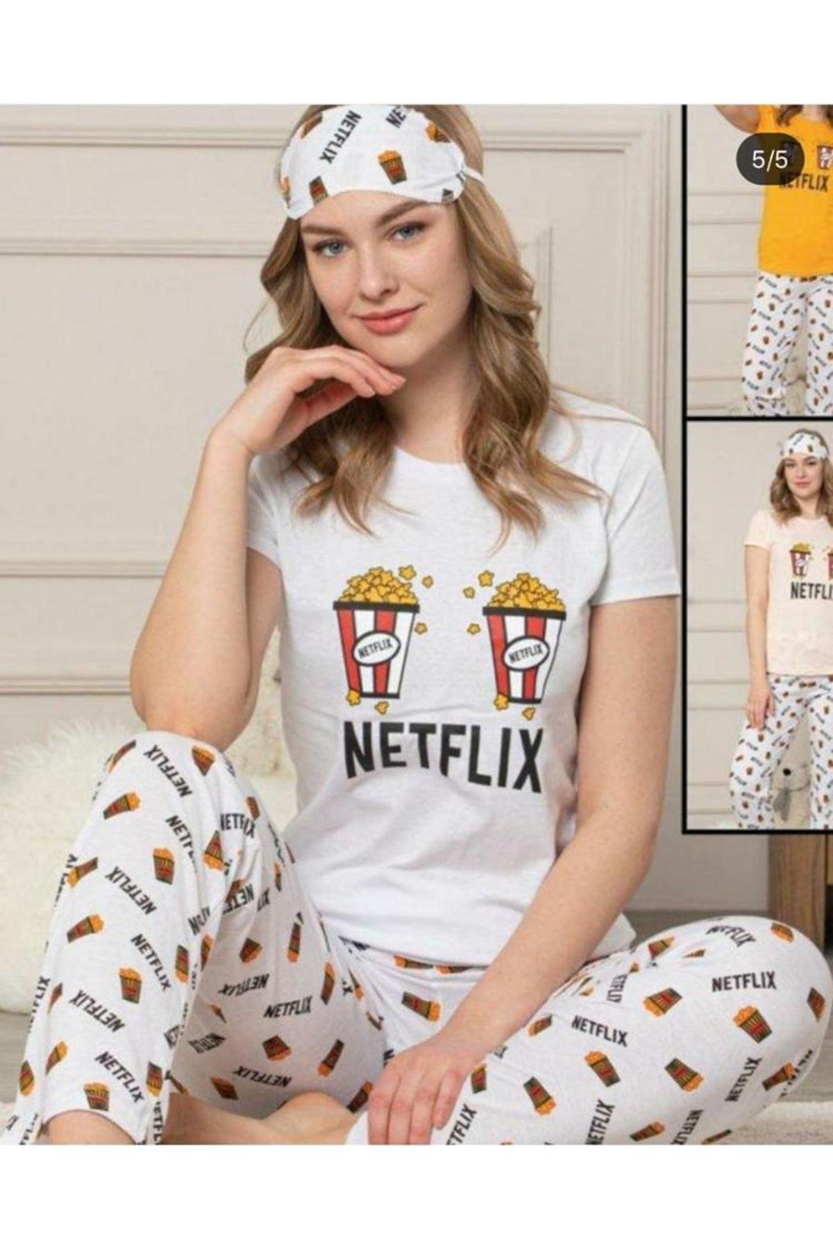 Netflıx Baskı Pijama Takımı - BEYAZ