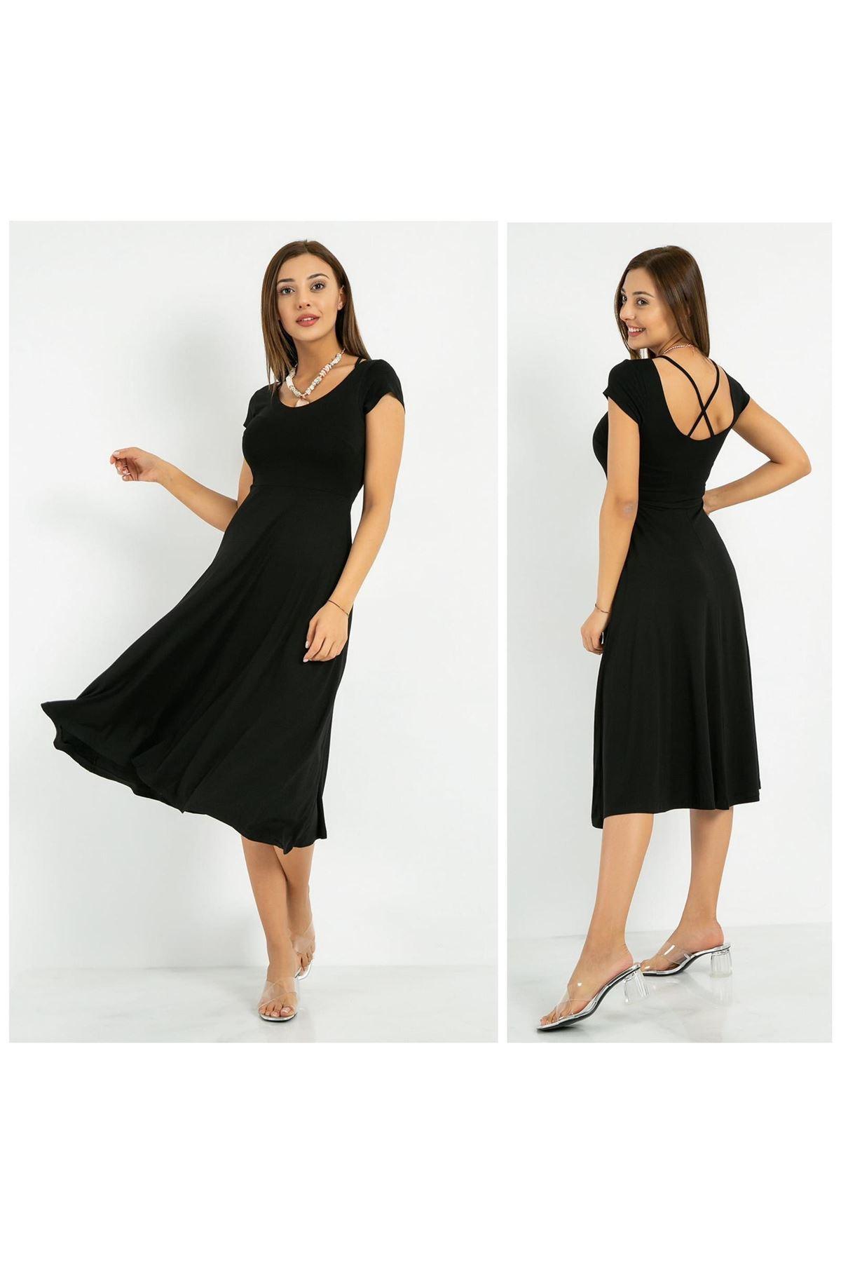 Sırt Çapraz Detay Elbise - Siyah