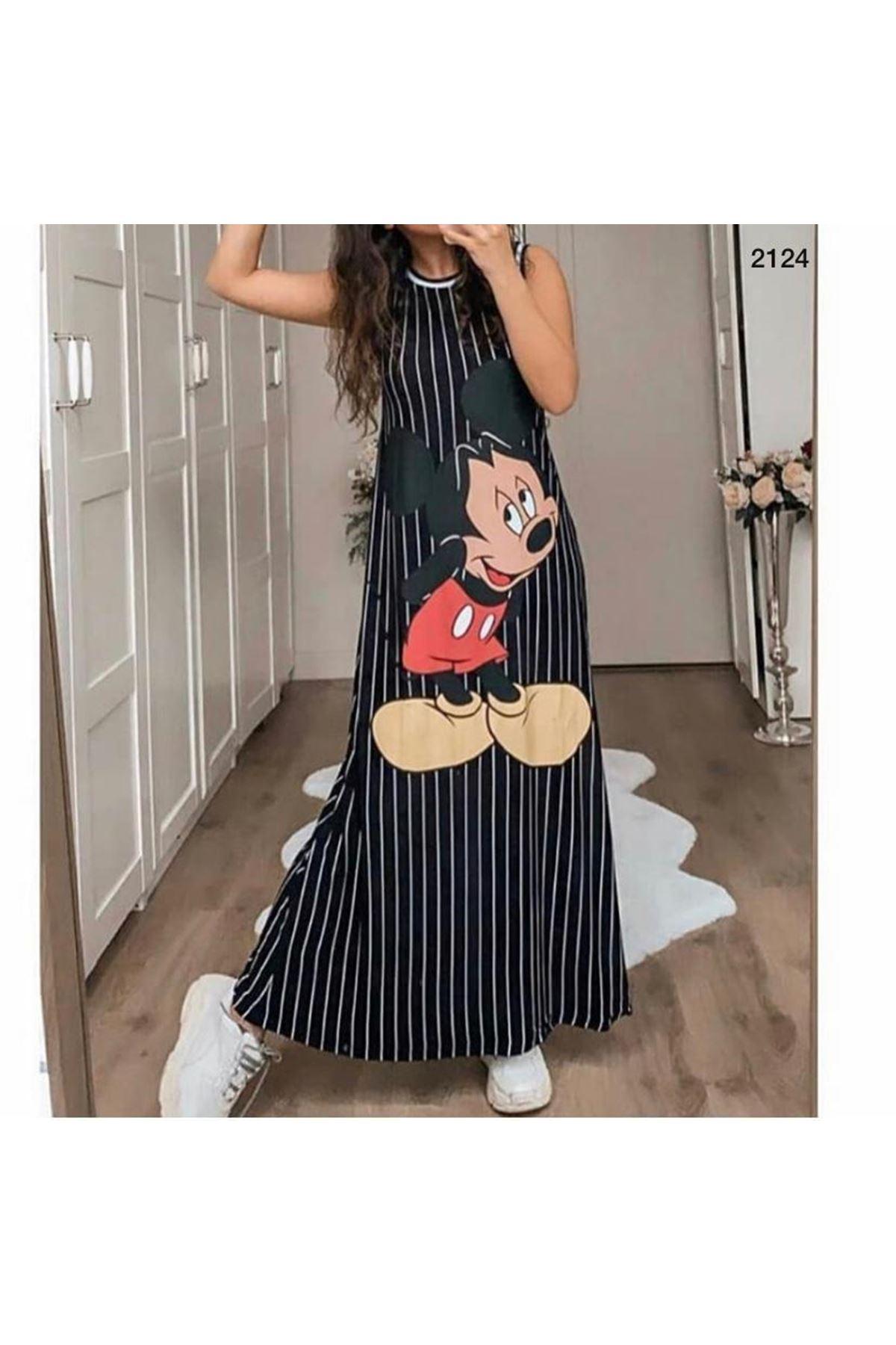 Mickey Baskılı Elbise - SİYAH