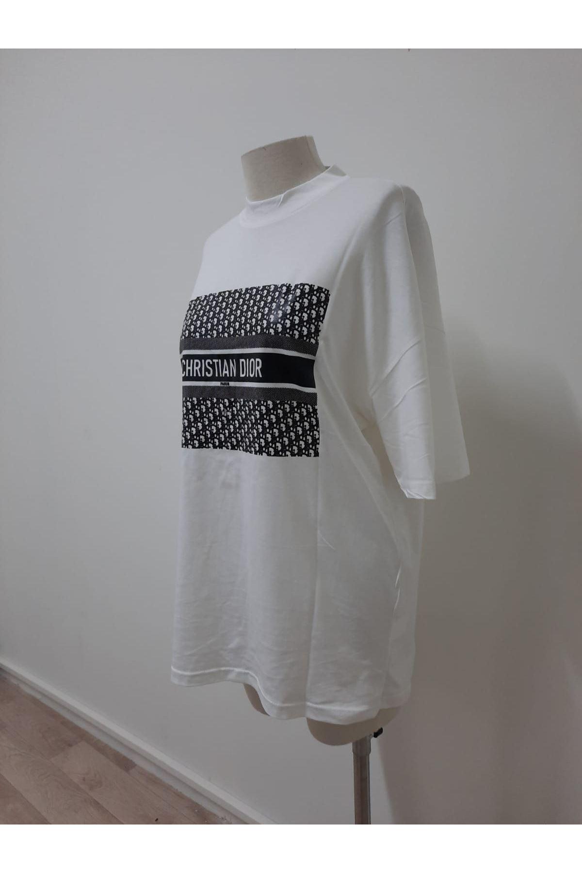 Dıor Baskılı Tshirt - Beyaz
