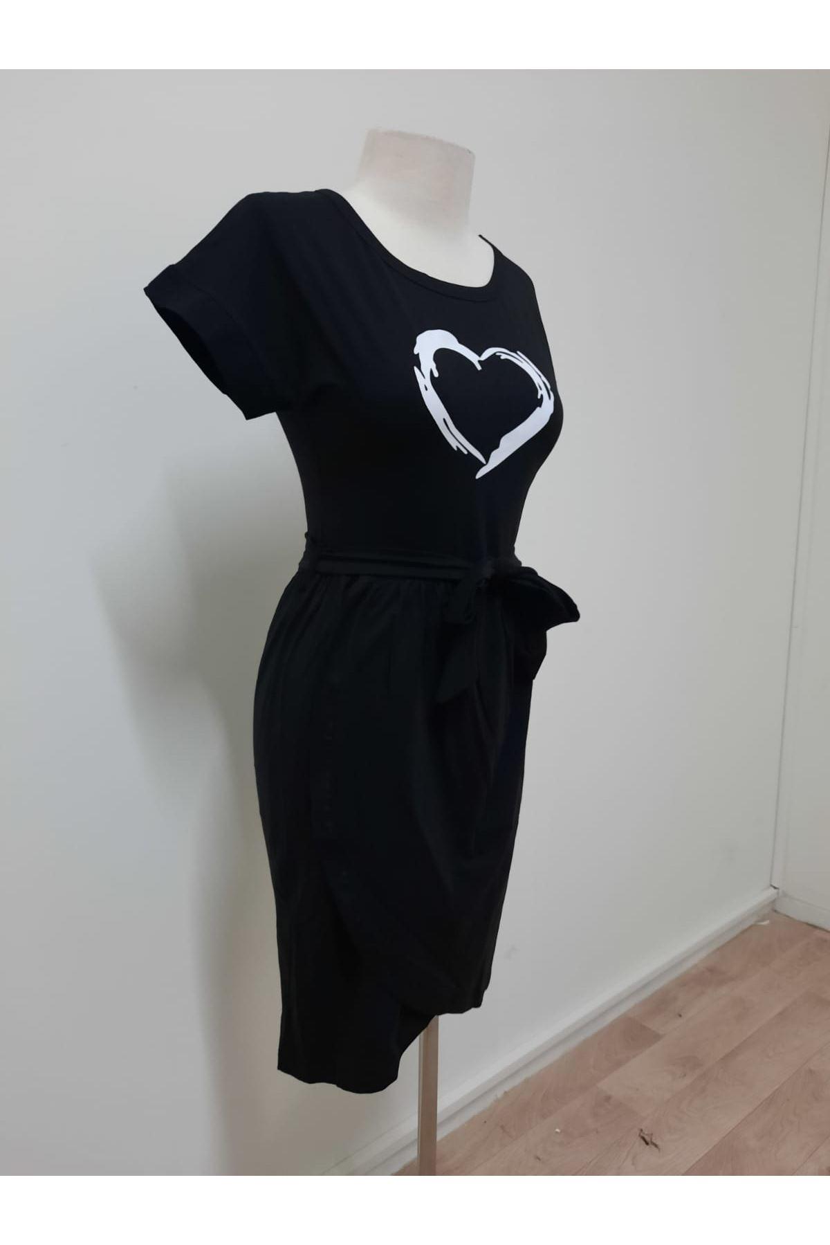 Kalpli Asimetrik Elbise - SİYAH