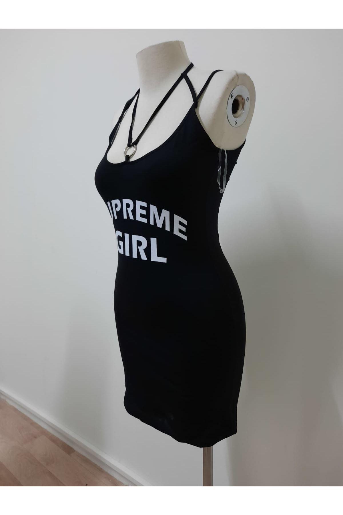 Baskı Detaylı Mini Elbise - Siyah