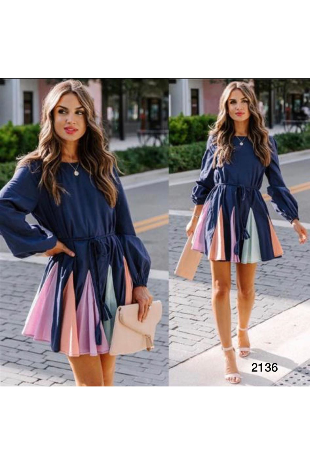 Renkli Etekli Mini Elbise - laci