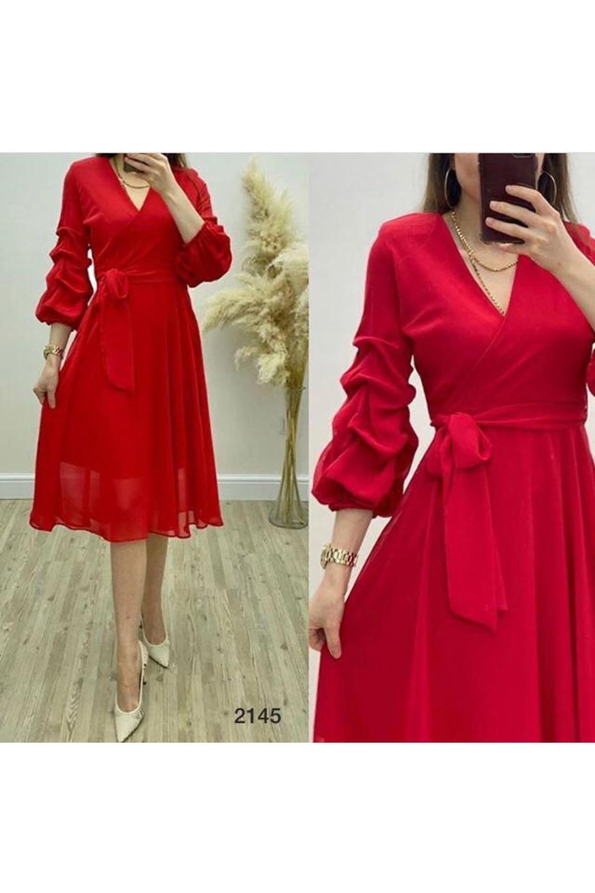 Kuşaklı 3 Renk Elbise - KIRMIZI