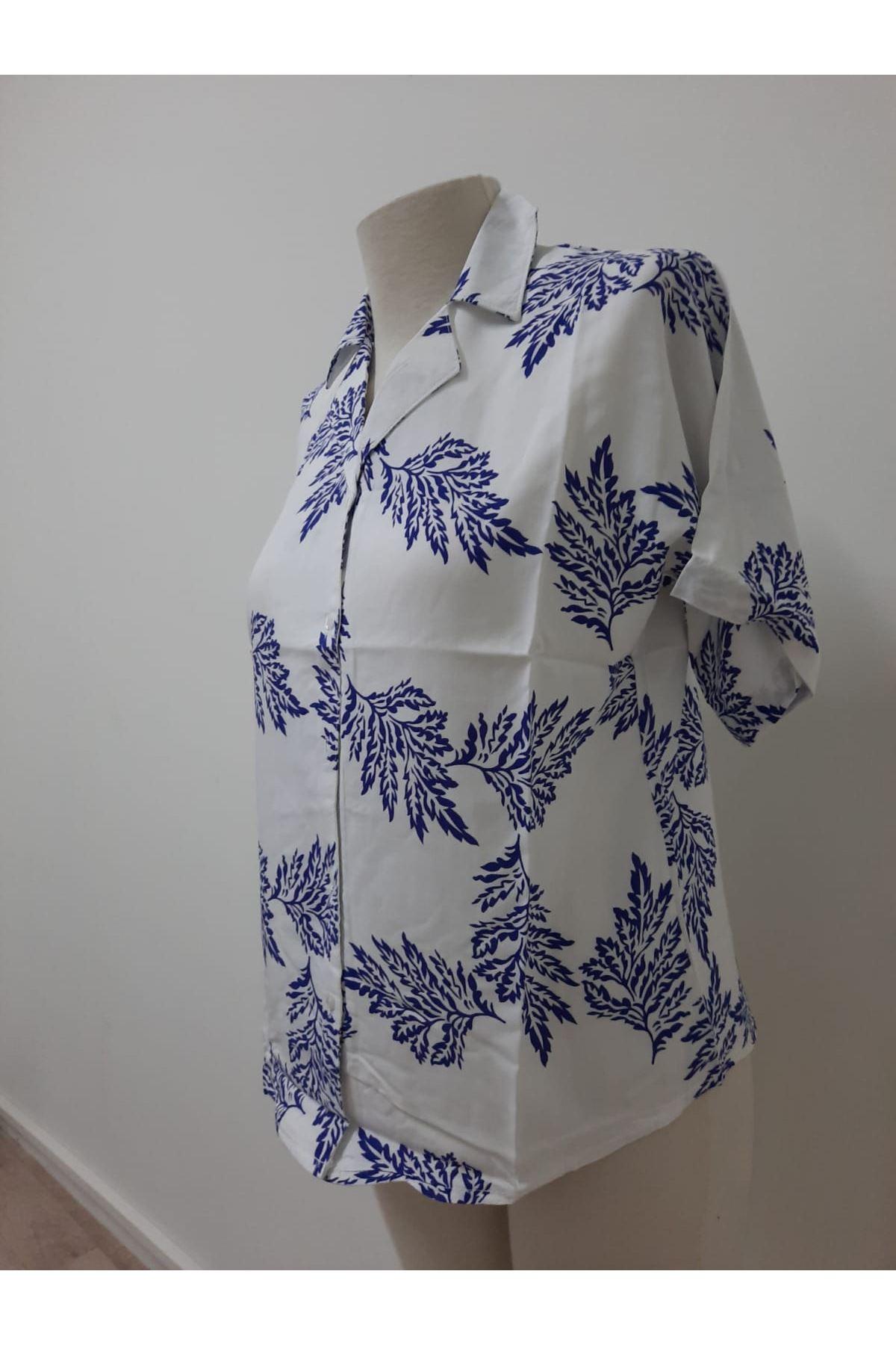 Yaprak Desen Gömlek - beyaz