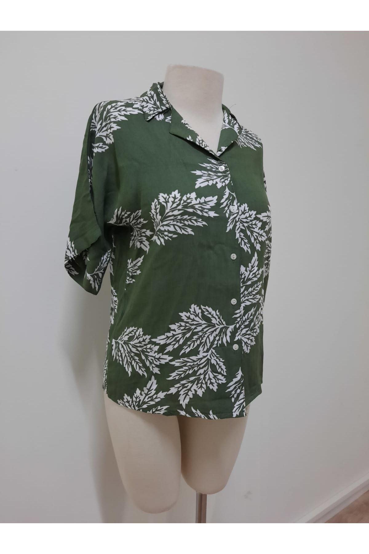Yaprak Desen Gömlek - yeşil