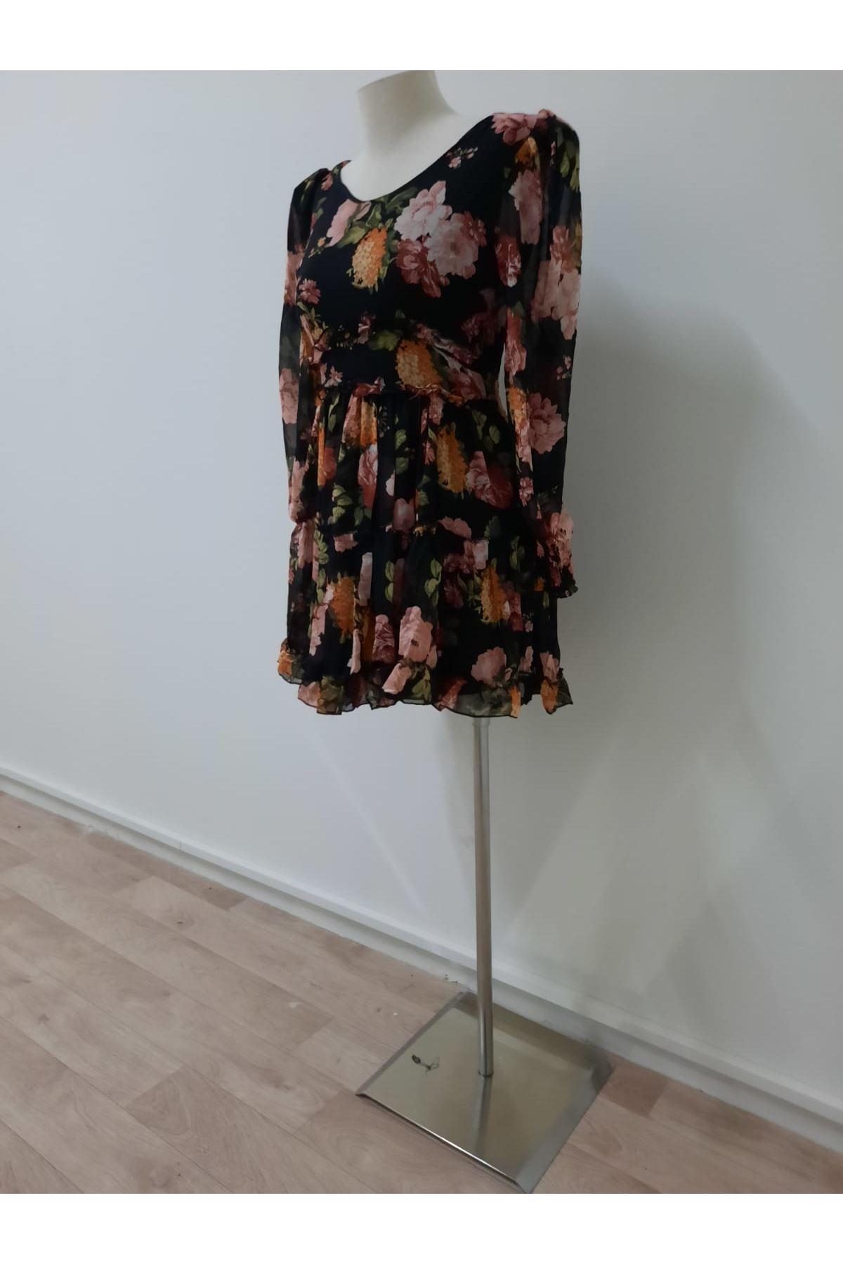 Mini V Yaka Şifon Elbise - siyah