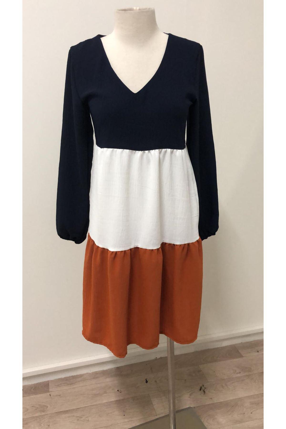Renk Geçişli Ayrobin Elbise - TABA