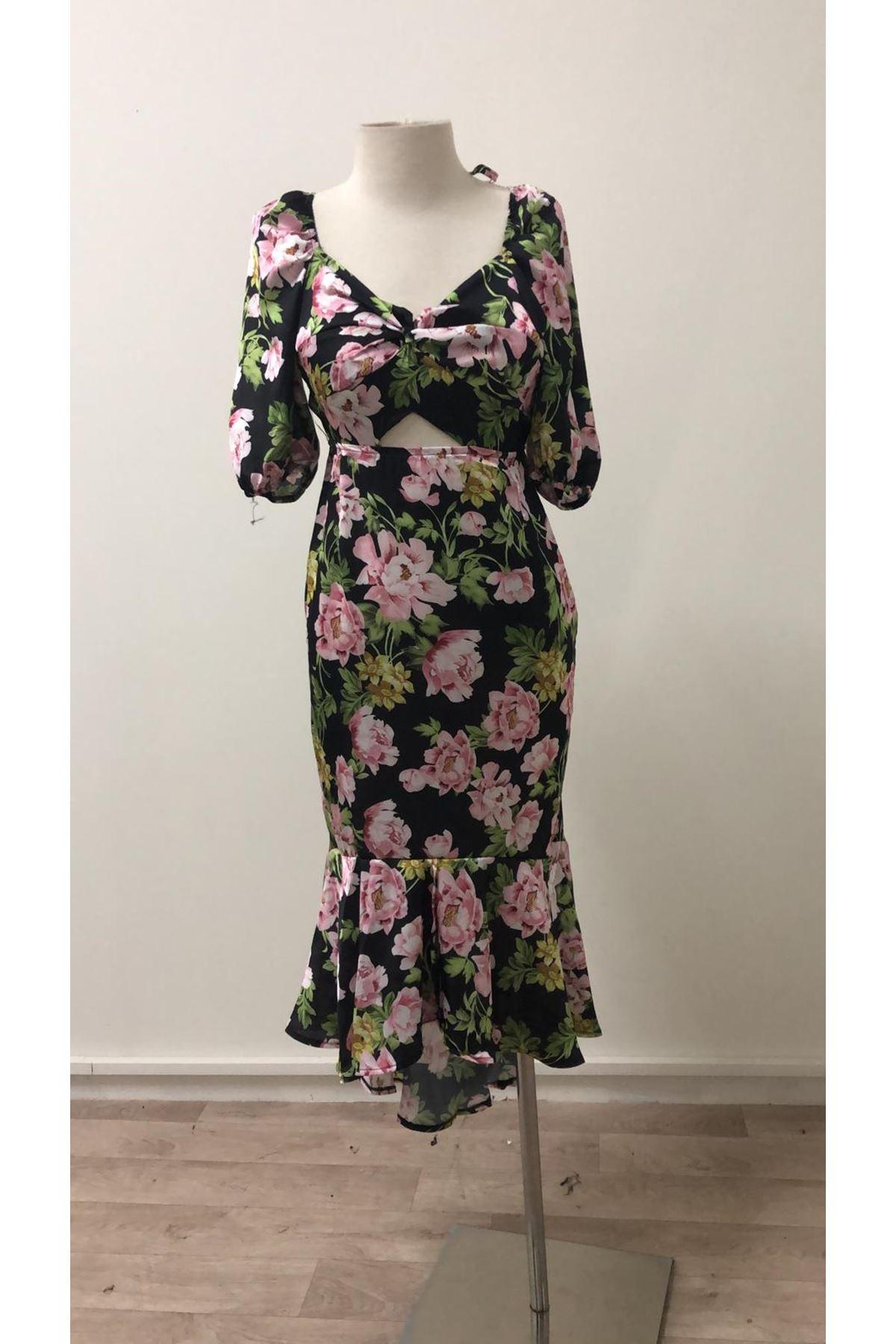 Sırt Tasarım Saten Elbise - SİYAH
