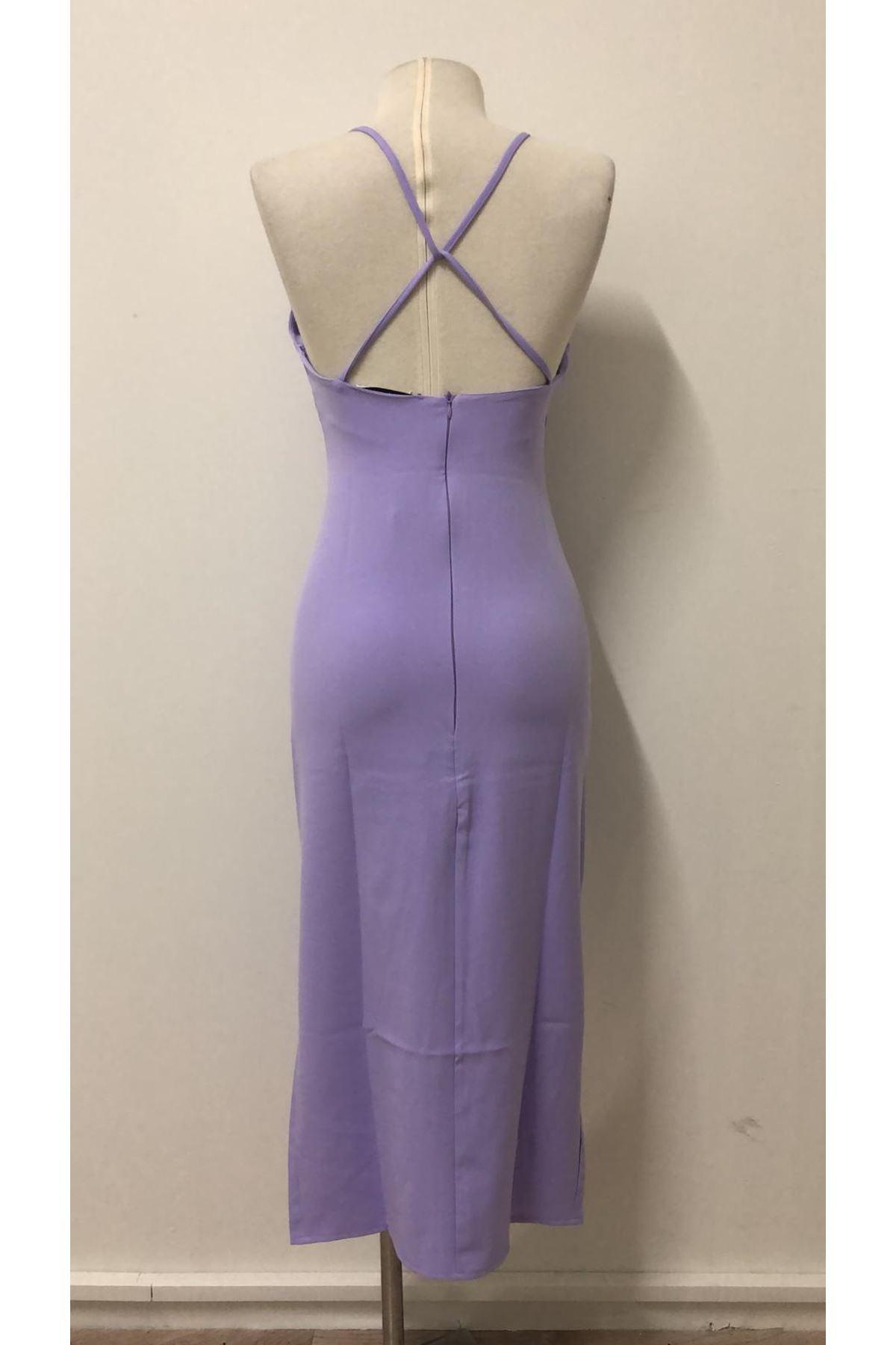 Yırtmaç Sırt Detay Elbise - LİLA