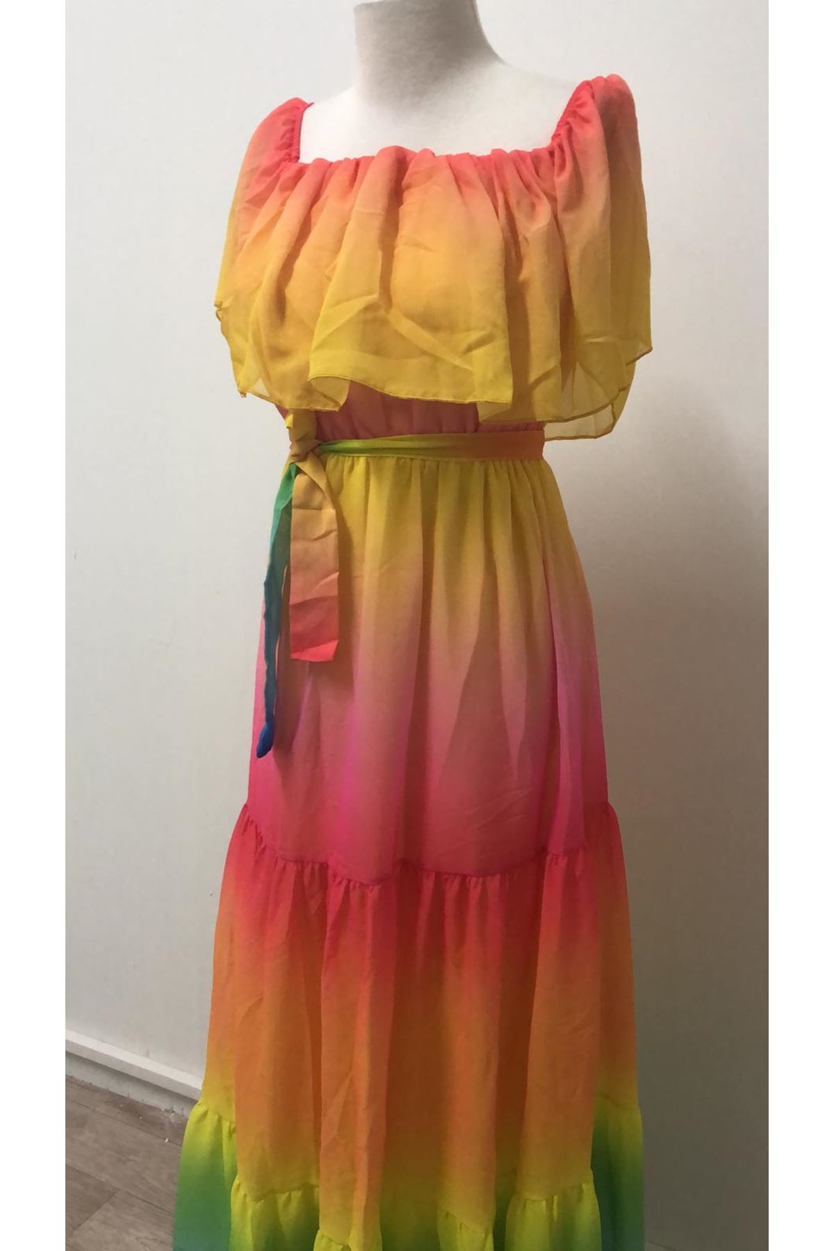 İpek Astarlı Şifon Elbise - MULTİ