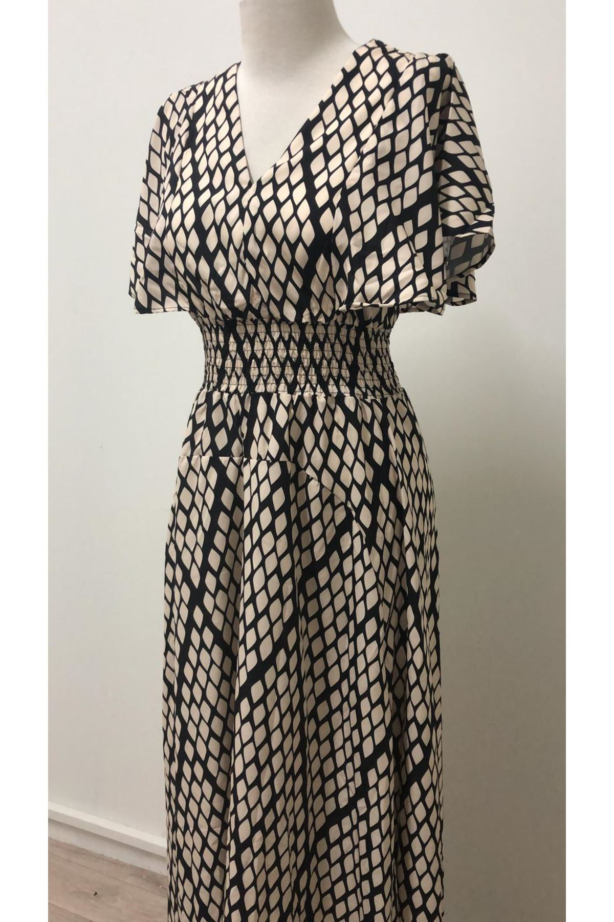 Yılan Desenli Tasarım Elbise - MULTİ