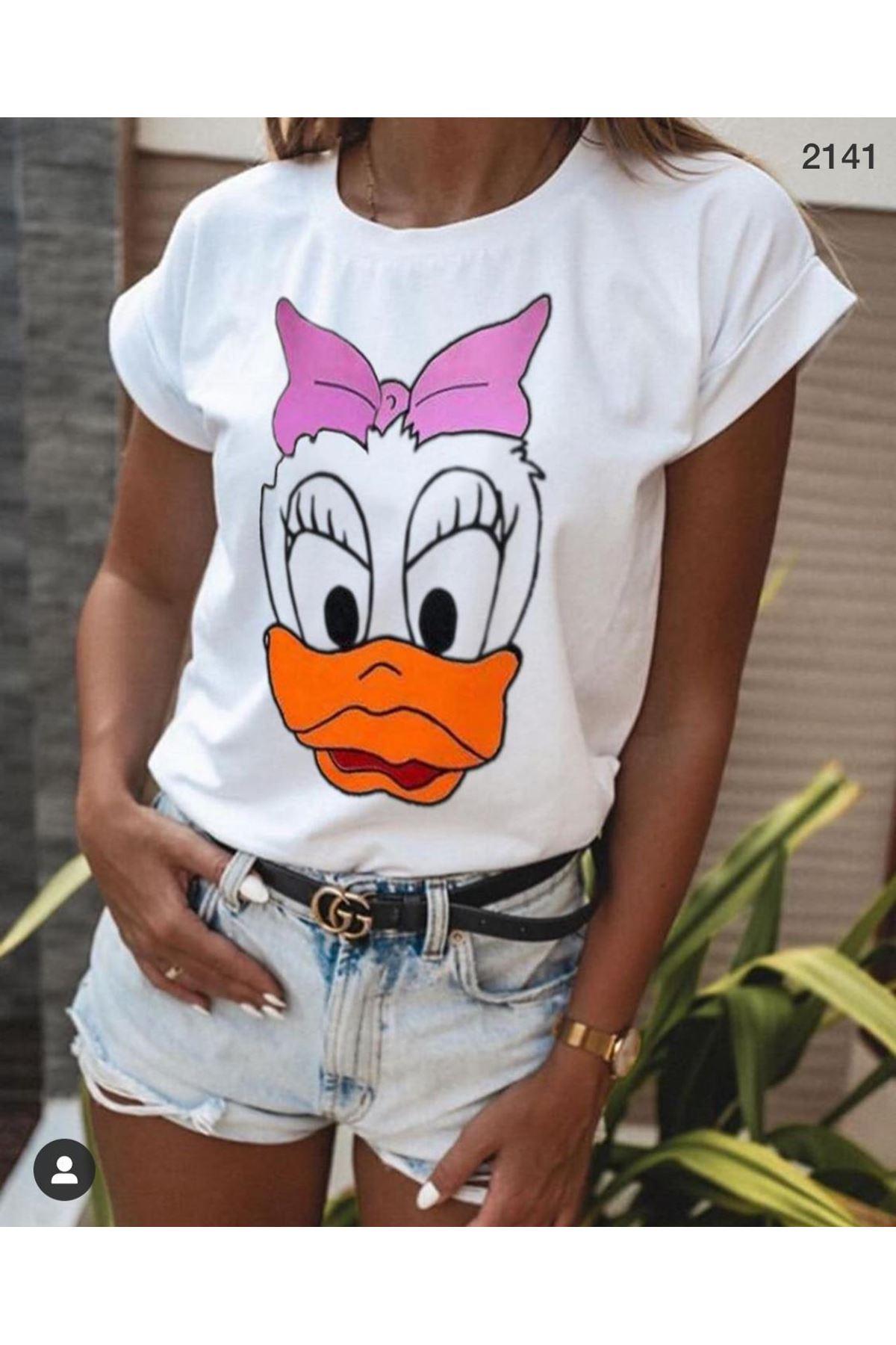 Daisy Duck Baskı Tshirt - BEYAZ