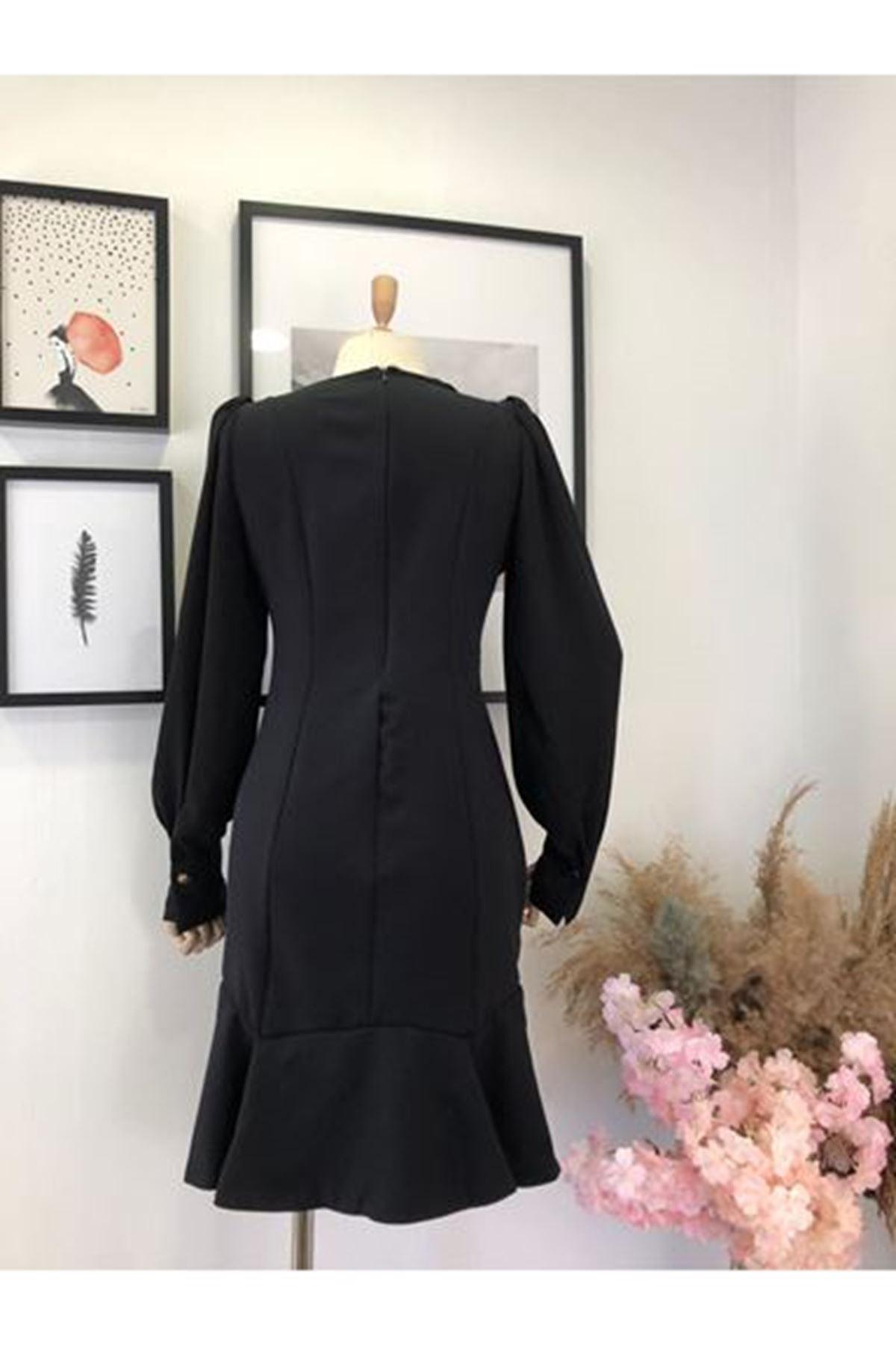 Kolları Şifon Mini Elbise - SİYAH