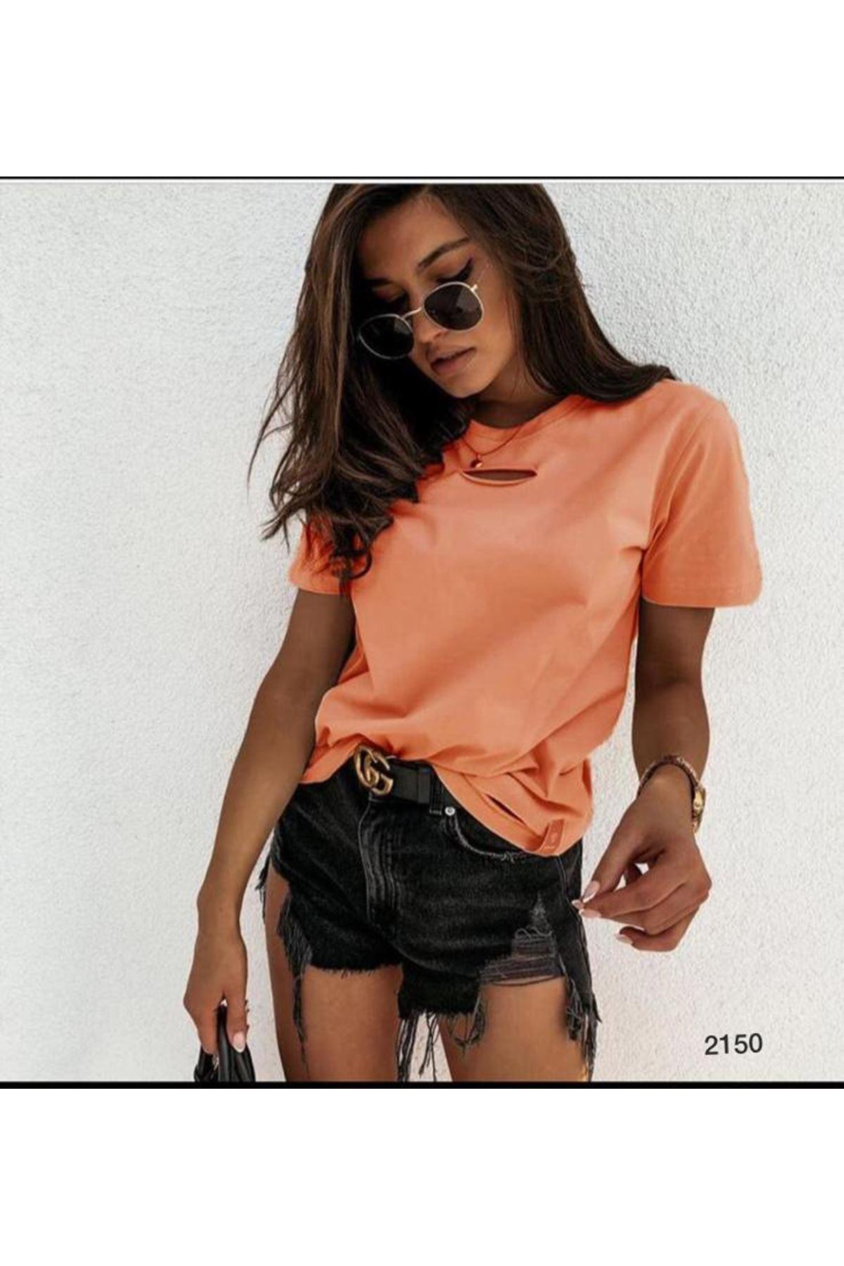 Göğsü Yırtık Detay Tshirt - oranj