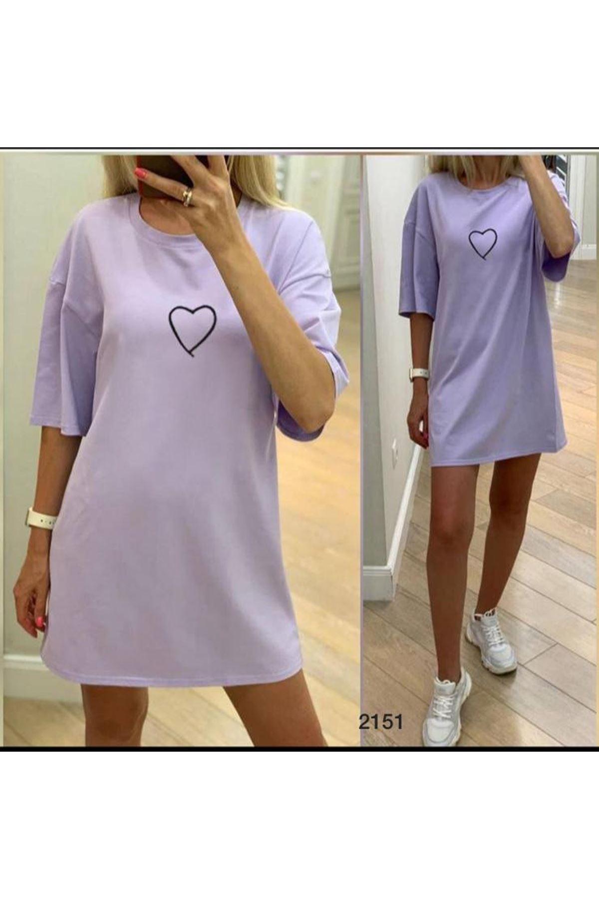 Kalp Baskılı Tunik Elbise - lila