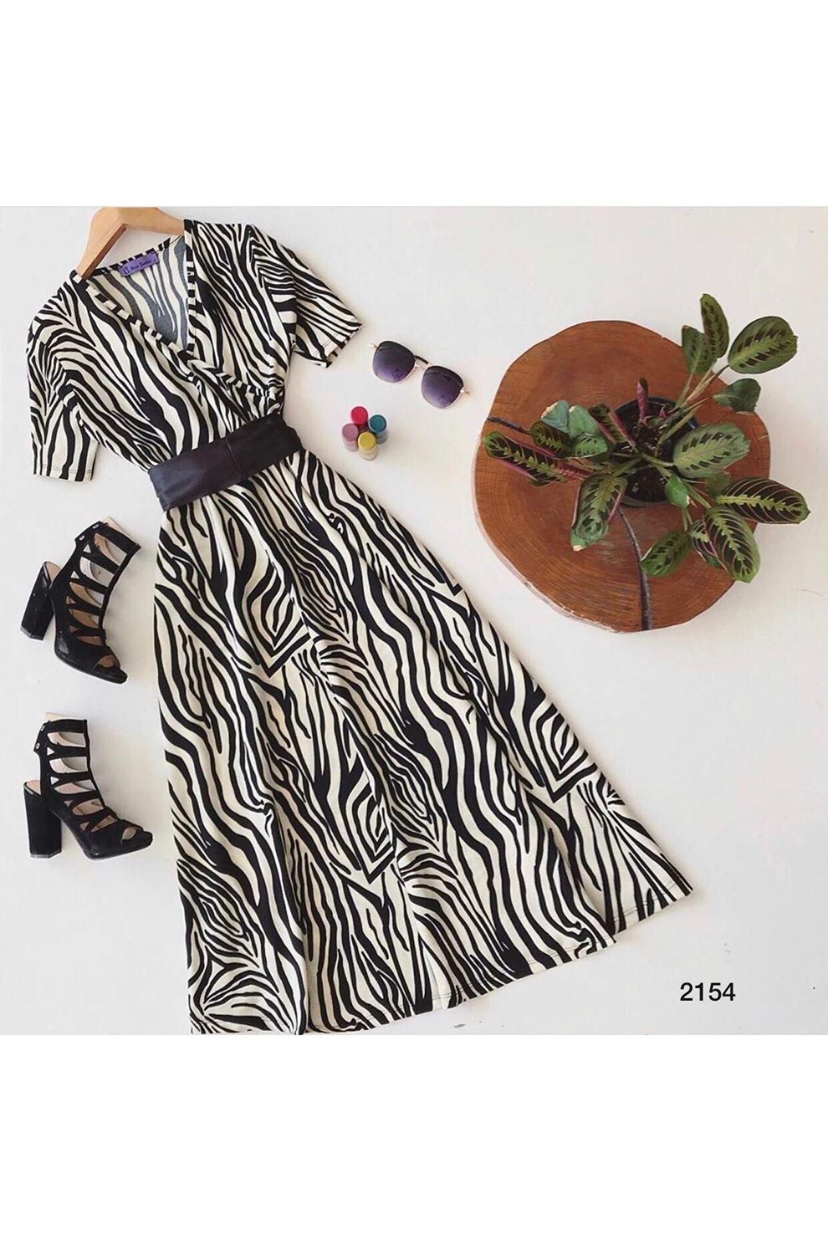 Zebra Desen Midiboy Elbise - MULTİ